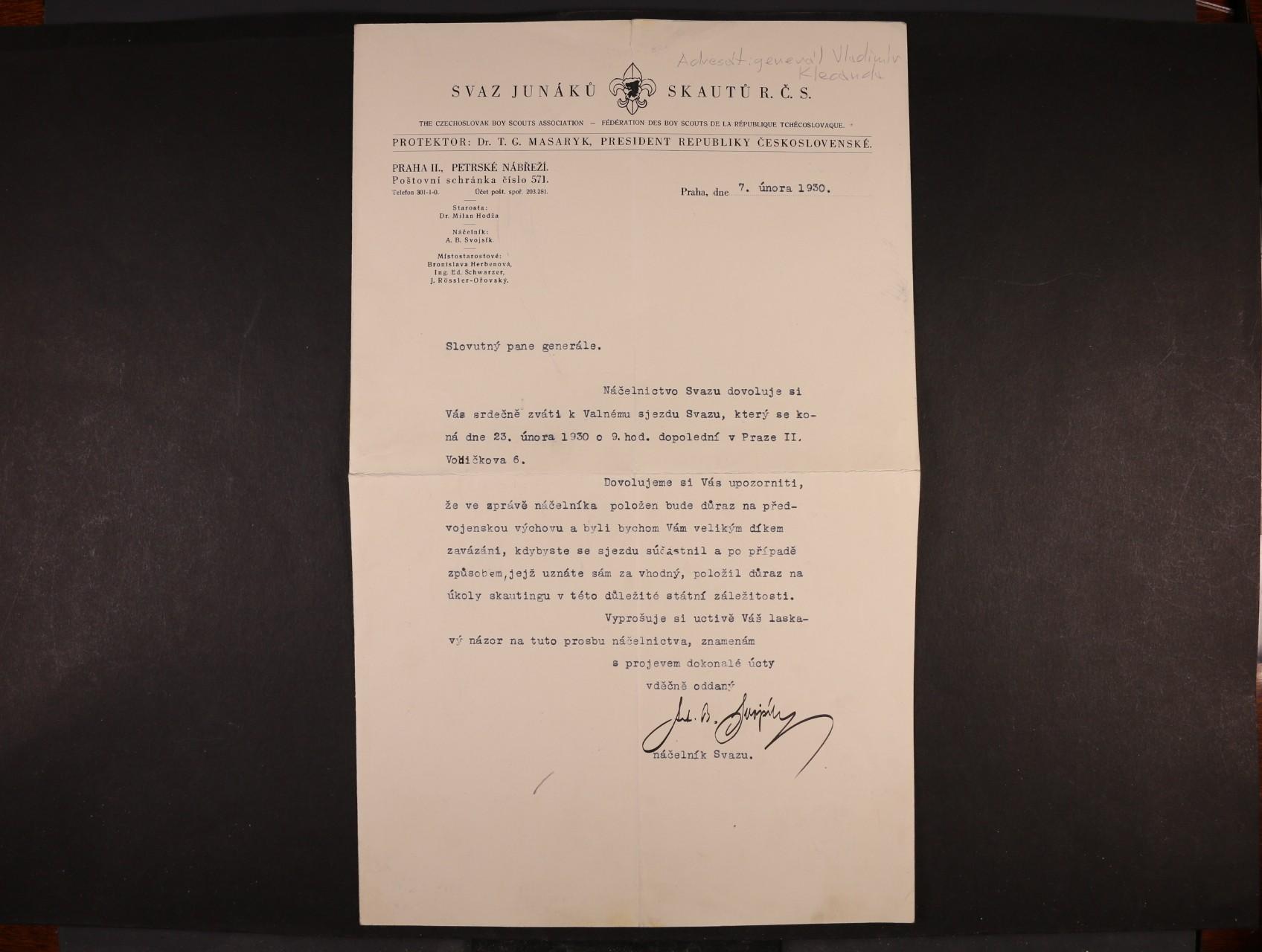 Svojsík Antonín Benjamin  1876 - 1938, náčelník Junáka, zakladatel Skauta v ČSR - dopis s vlastnoručním podpisem