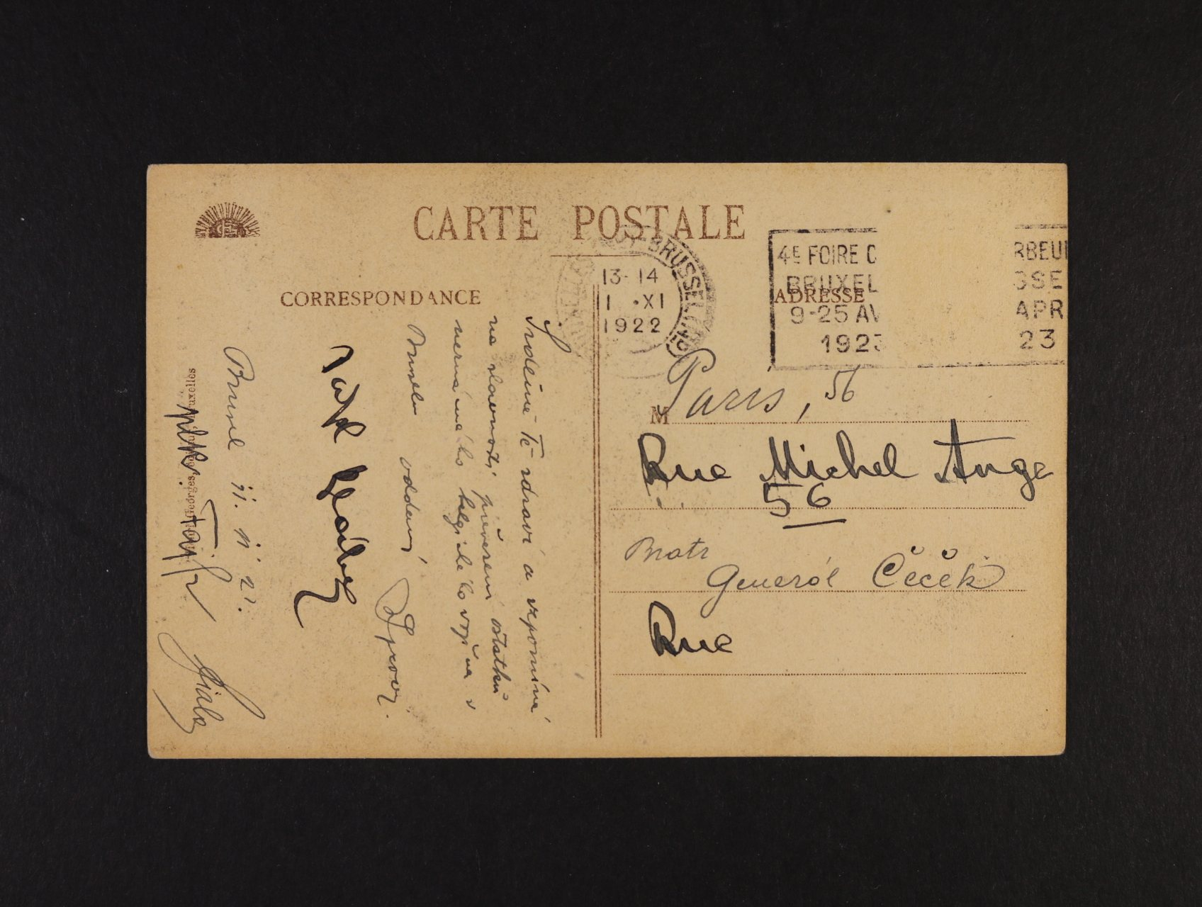 Syrový Jan, generál čs. armády - pohlednice adresovaná na Gen. Čečka do Paříže, podepsaná Gen. Janem Syrovým a Gen. Faifrem, únor 1922