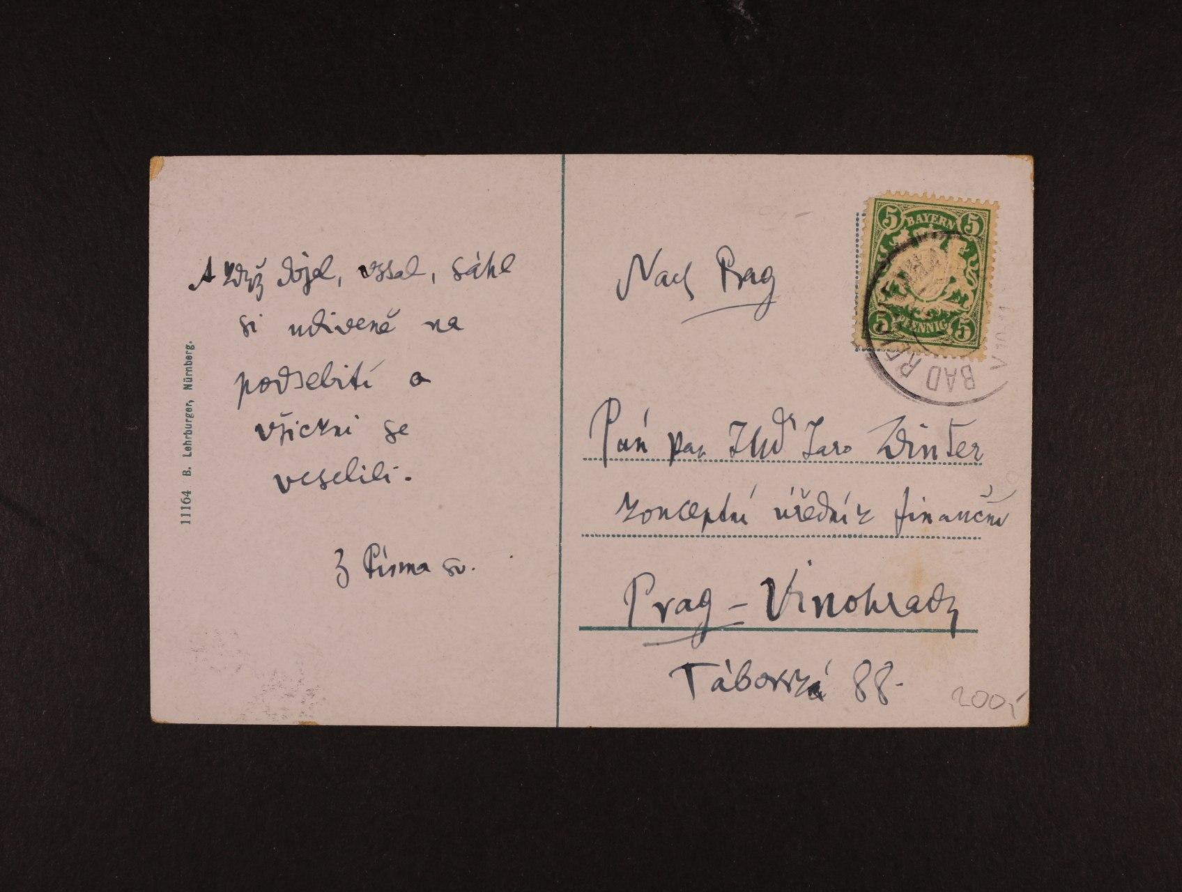 Winter Zikmund Dr. 1846 - 1912, spisovatel, historik a učitel - pohlednice z Bavorska synovi do Prahy