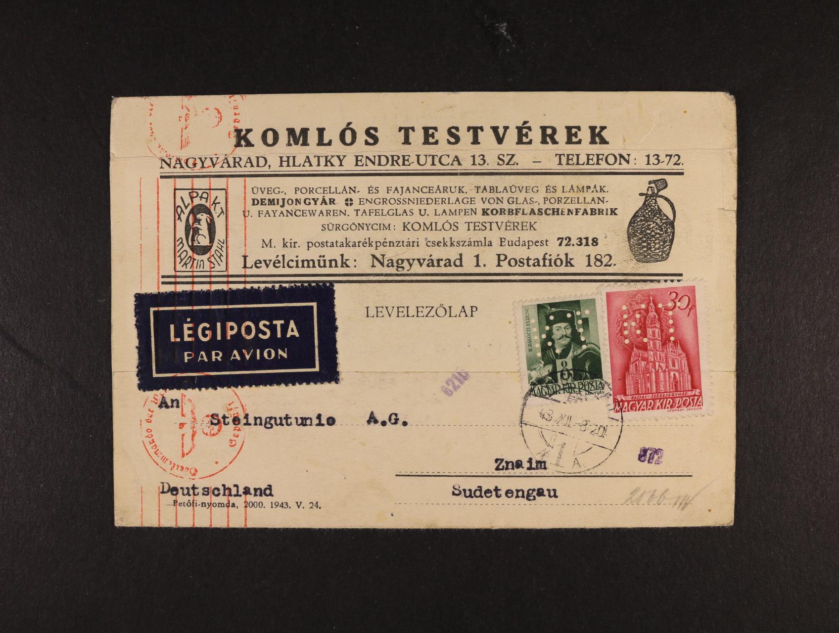 Maďarsko - firemní KL frank. zn. s identifik. perfinem K T (KOMLOS TESTVÉREK), pod. raz. NAGYVÁRAD 8.12.43, červené cenzurní raz., zajímavé