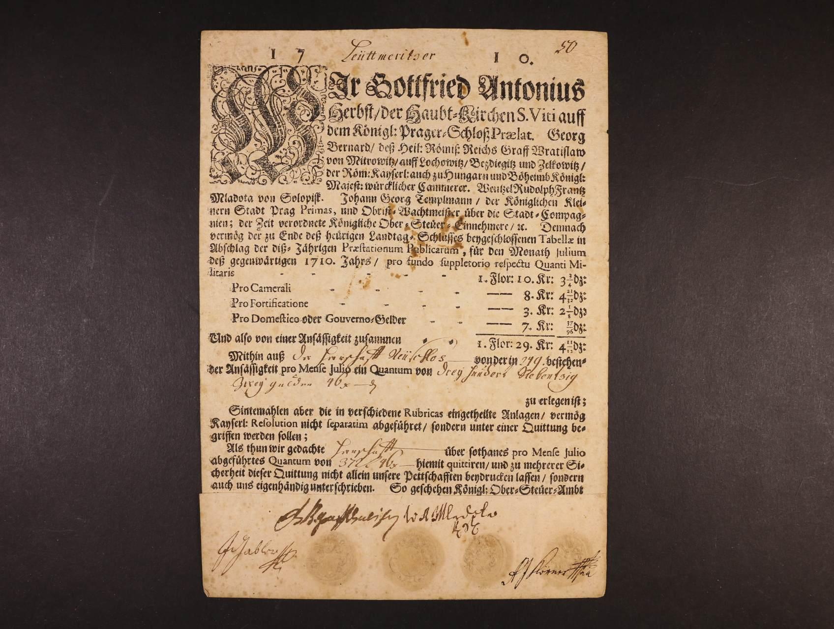 kvitance preláta chrámu Sv. Víta z r. 1710 - potvrzení peněžního daru se čtyřmi suchými pečetěmi