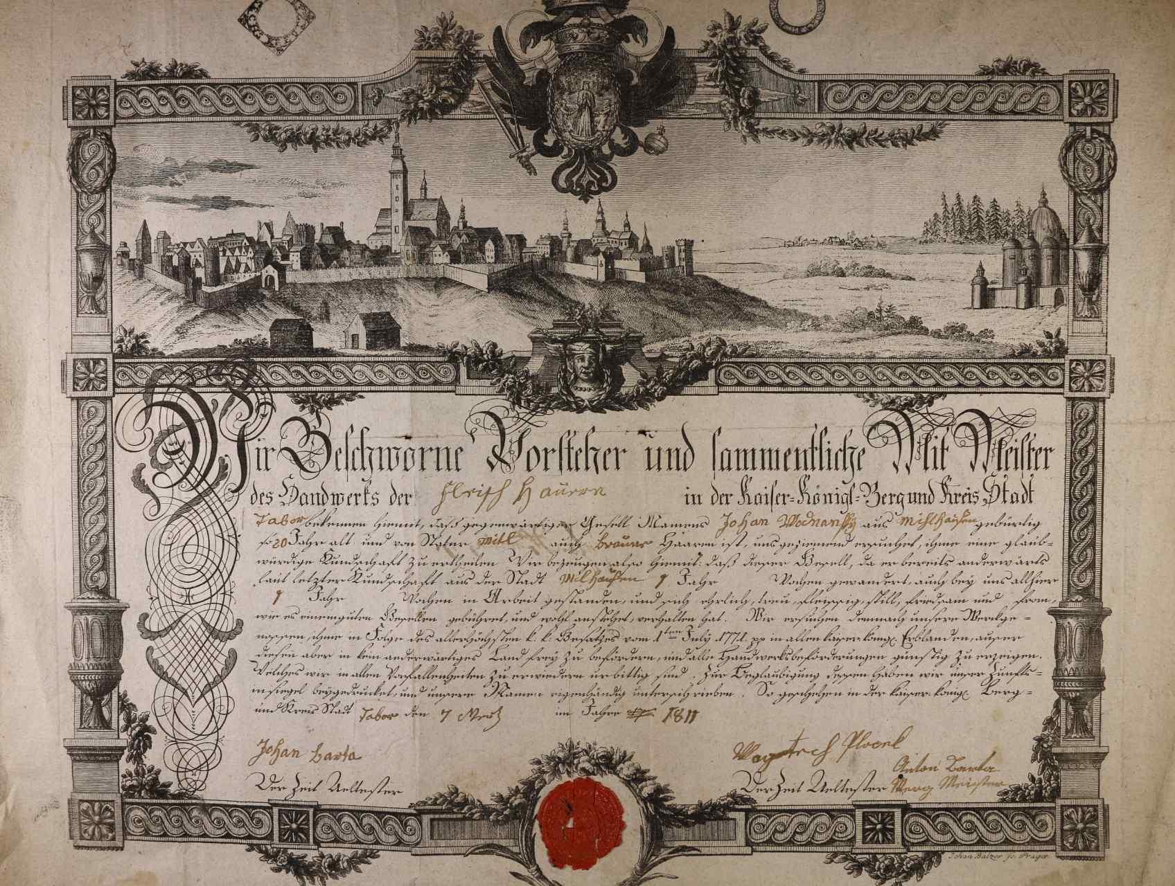 výuční list z r. 1811 s vedutou města Tábor
