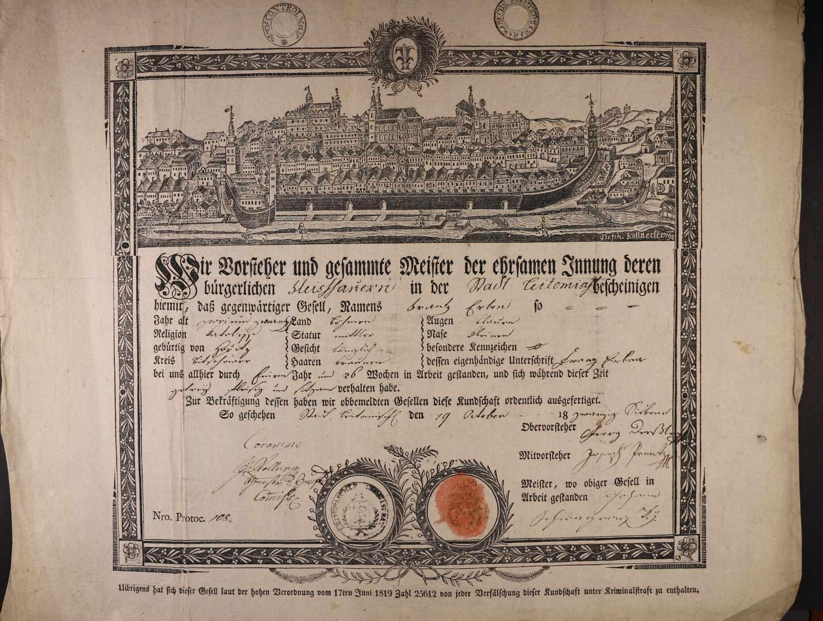 výuční list z r. 1819 s vedutou města Litomyšle, zajímavé