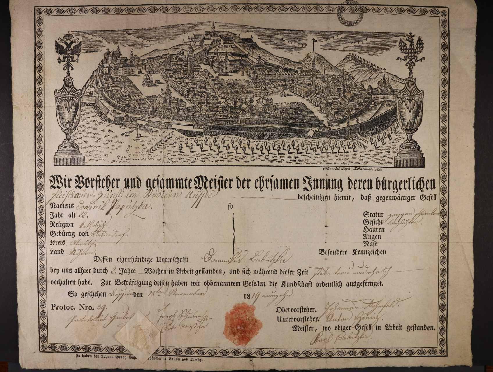 výuční list z r. 1819 s vedutou Brna, zajímavé