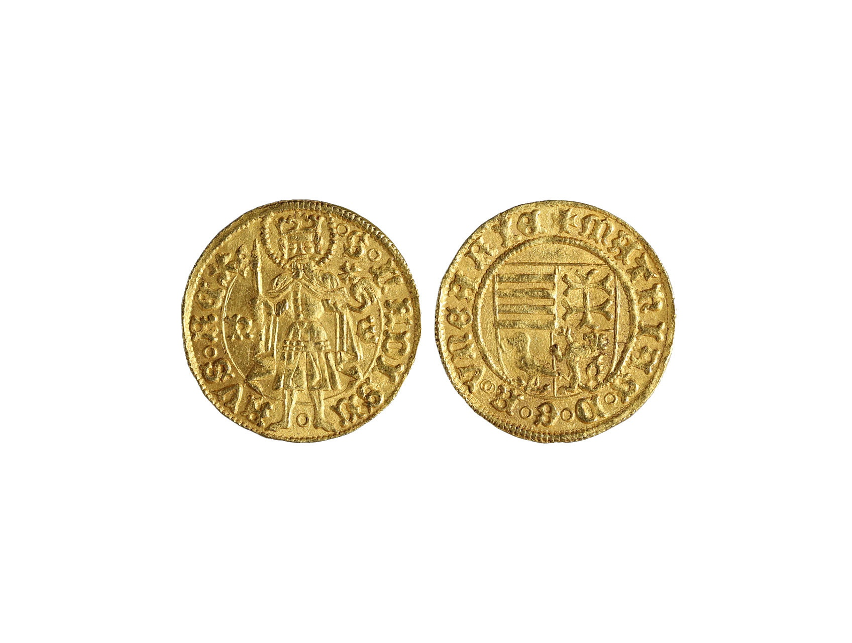 Matyáš Korvín 1458-1490 - Dukát b.l. (1458-66) N.E.mincovna Nagy Bánya, 3,6g, pohl K-1-15, var.a, Husz. 674