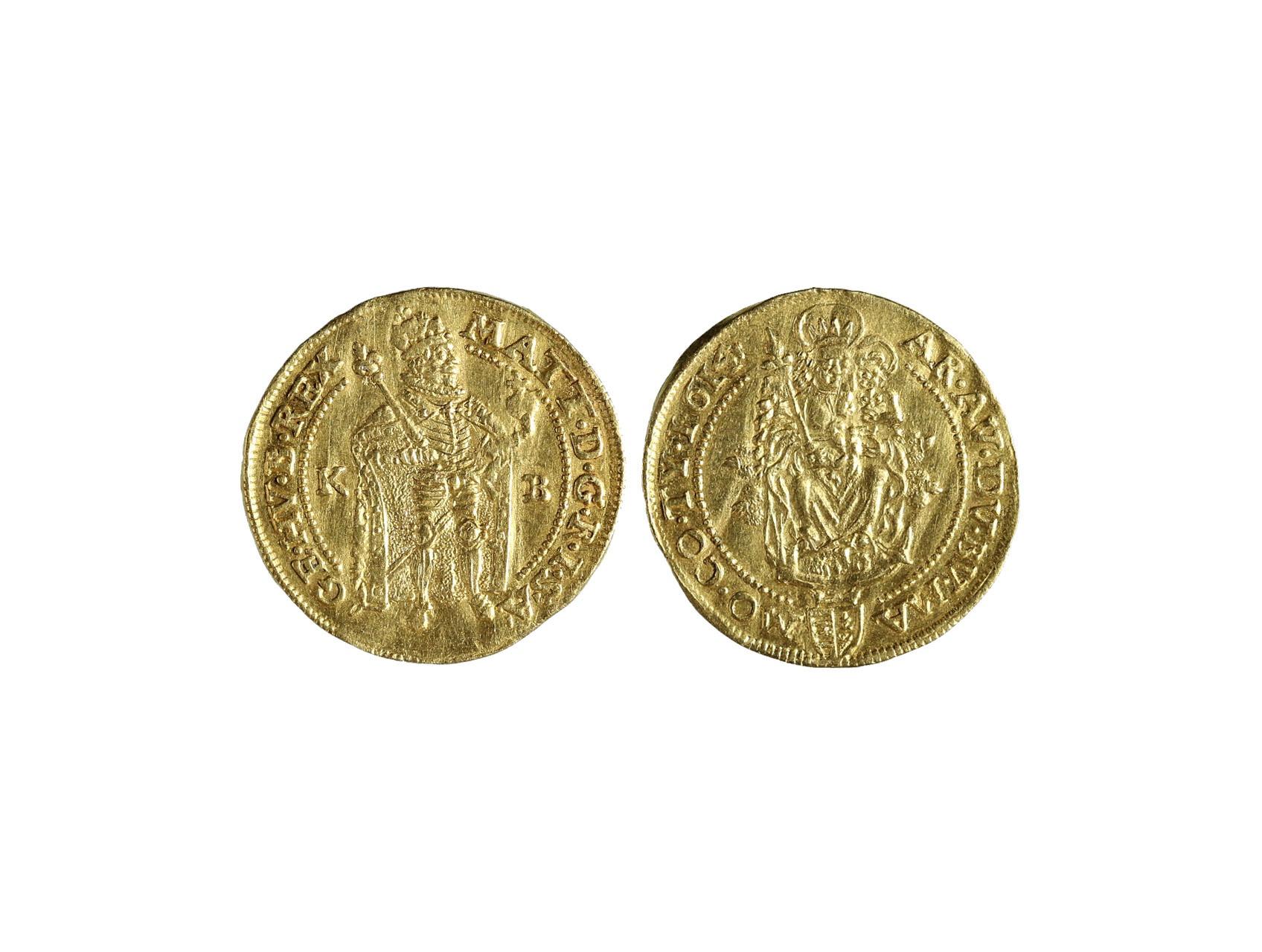 Matyáš II. 1611-1619 - Dukát 1614 K.B. mincovna Kremnice, váha 3,43g, nepatrně zvlněn