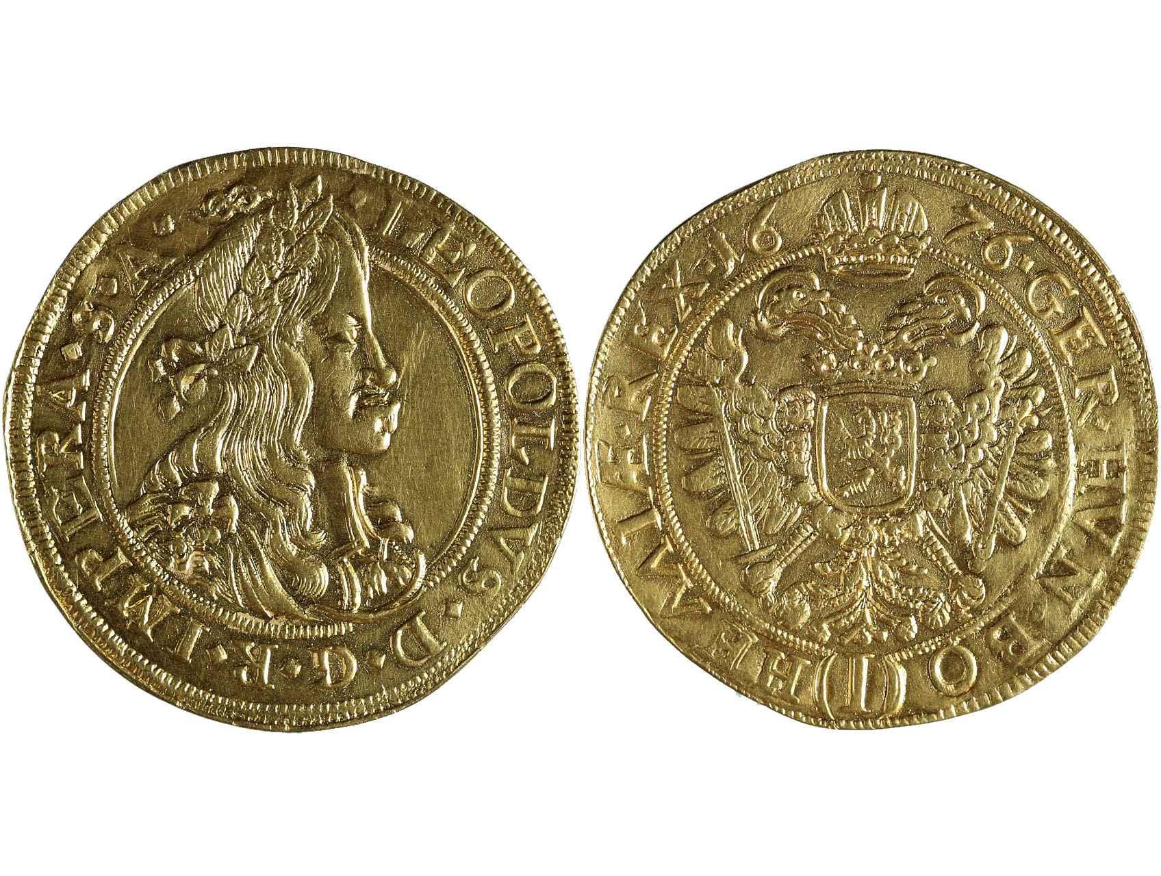 Leopold I. 1657-1705 - 5 Dukát 1676 Praha, Janinali, 16,889g,  J. 55, MKČ. 1371, N55, nepatrně zvlněn, stopa, mírně cizolováno, vzácný