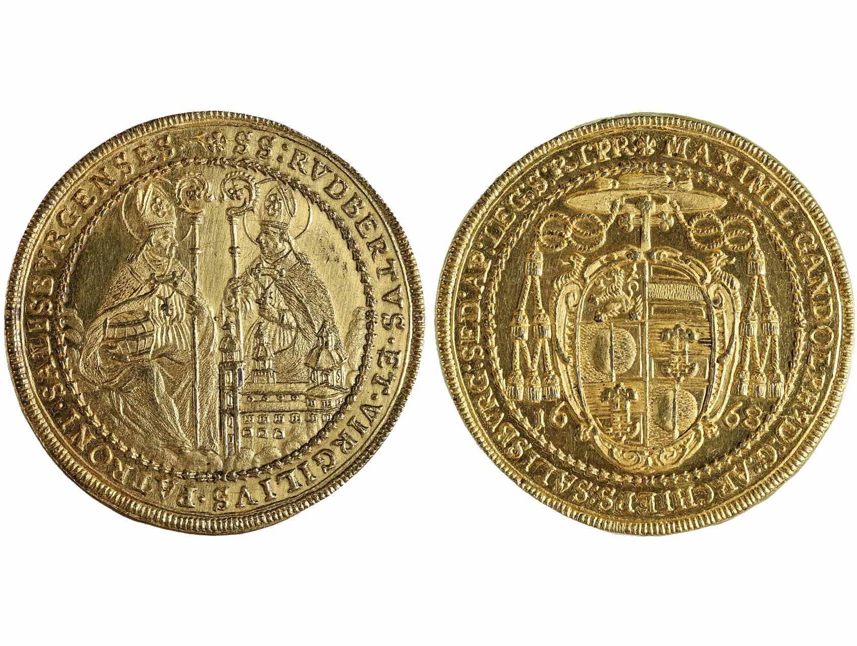 Církevní a rodové ražby, Salzburg - arcibiskupství, Max Gandolph von Küenburg 1668-1687, 6ti Dukát 1668 k nástupu na úřad, opis avers: MAXIMIL GANDOLPH9 D G ARCHIEPS SALISBVRG SED AP LEG S R I PR., opis revers: RVDBERTVS ET VIRGILIVS PATRONI SALISBVRGENSES, Fr. 801; Probszt 1598. 20,75 g., vyjímečná zachovalost, velmi vzácný a atraktivní exemplář, v tomto stavu známý 3. kus