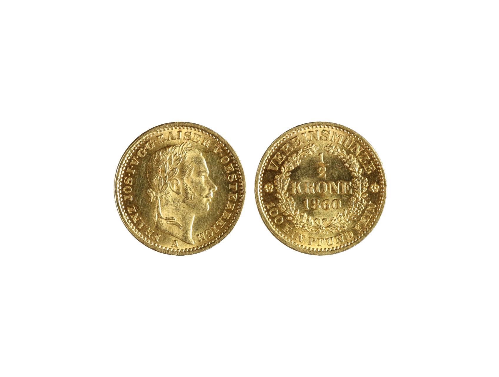 František Josef I. 1848-1916 - Spolková 1/2 Koruna 1860 A, N118, ex. aukce H.D.Rauch 2008 aukce 83 los. 2330, krásný stav, dosažená cena 310.000.- Kč