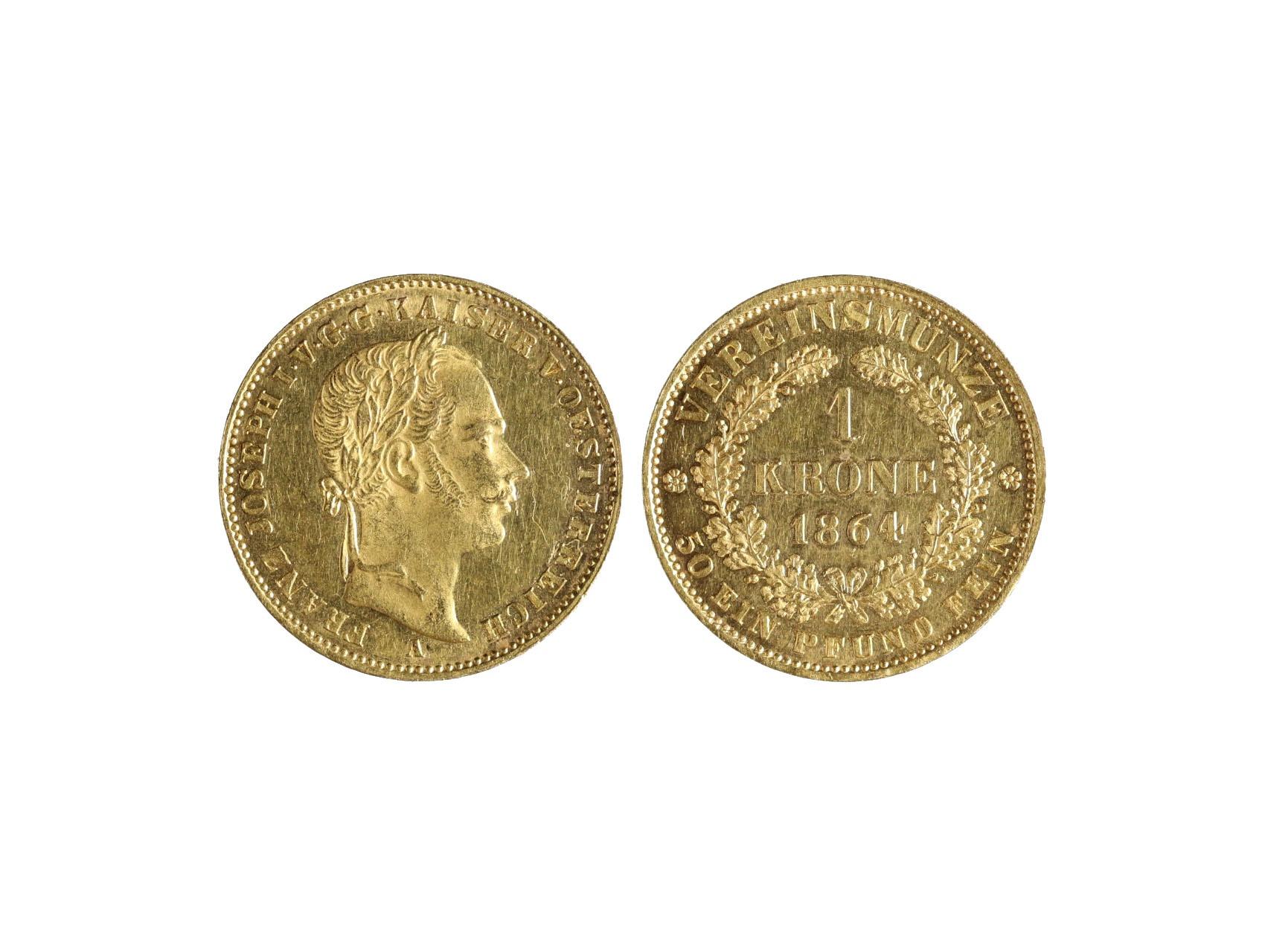 František Josef I. 1848-1916 - Spolková Koruna 1864 A, raženo 1530 ks. N120