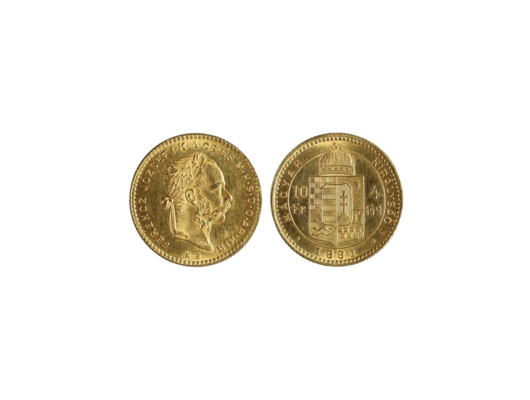 František Josef I. 1848-1916 - 4 Zlatník 1881 K.B., N124
