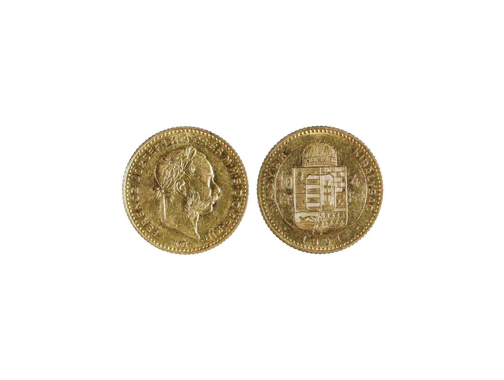 František Josef I. 1848-1916 - 4 Zlatník 1891 K.B. se znakem Fiume. N125