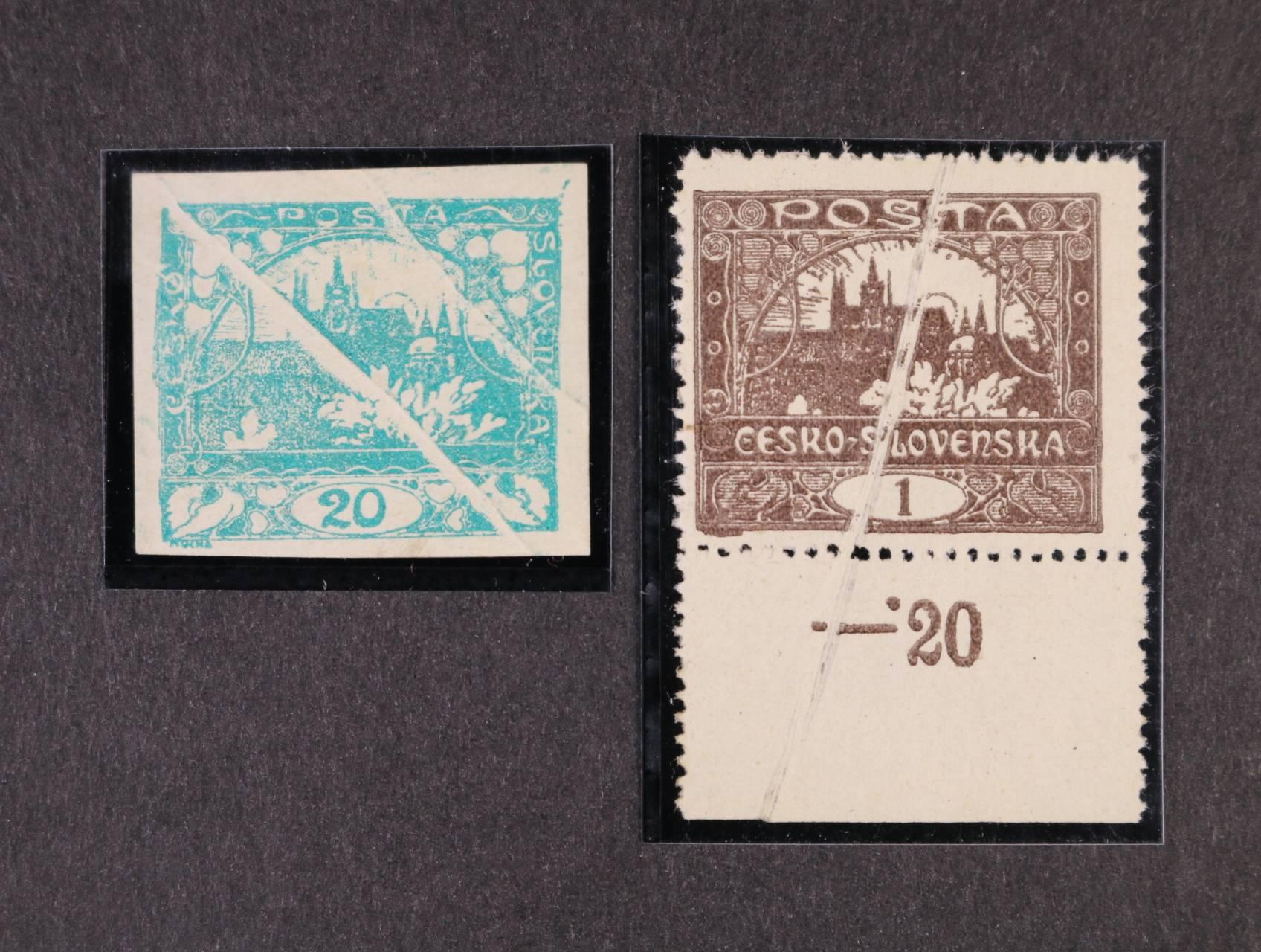 zn. č. 1 C se spodním okrajem a příčnou složkou papíru + zn. č. 8 s příčnými složkami papíru