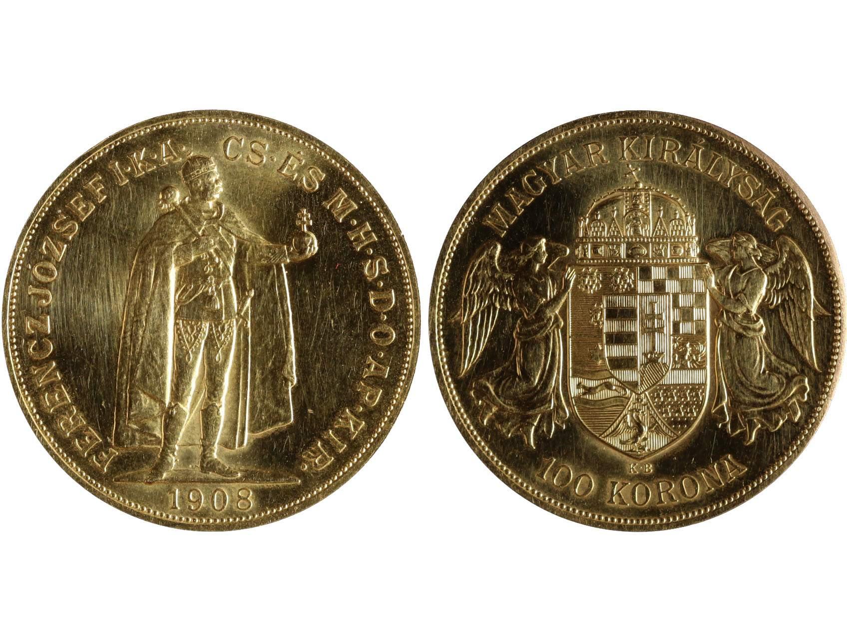František Josef I. 1848-1916 - 100 Koruna 1908 KB, 33.875g, Au 0,900, novoražba N141