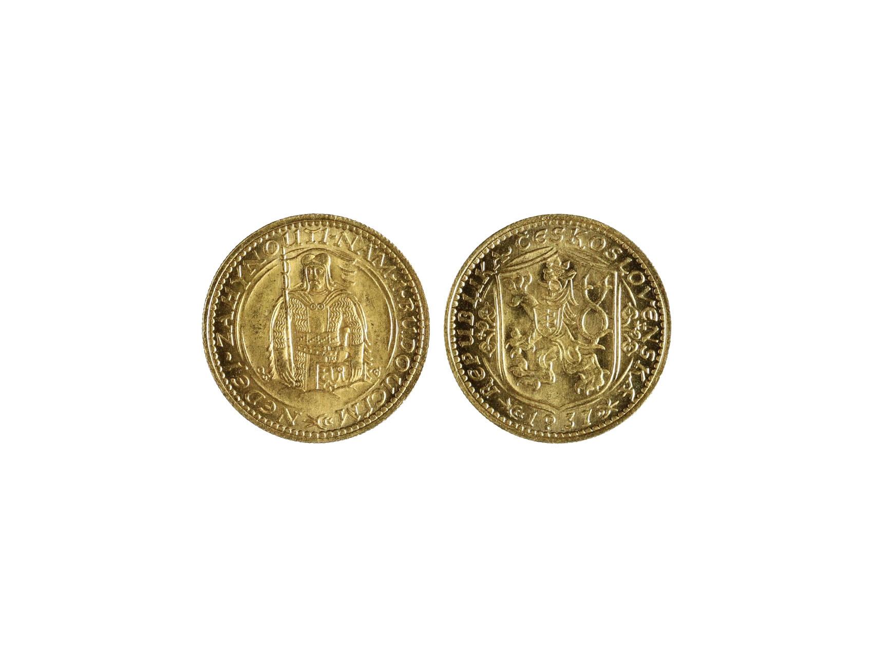 Československo 1918-1939 - Dukát 1937, 3.491 g, 986/1000, raženo 324 ks, N16, vzácný, pravý, krásná kvalita