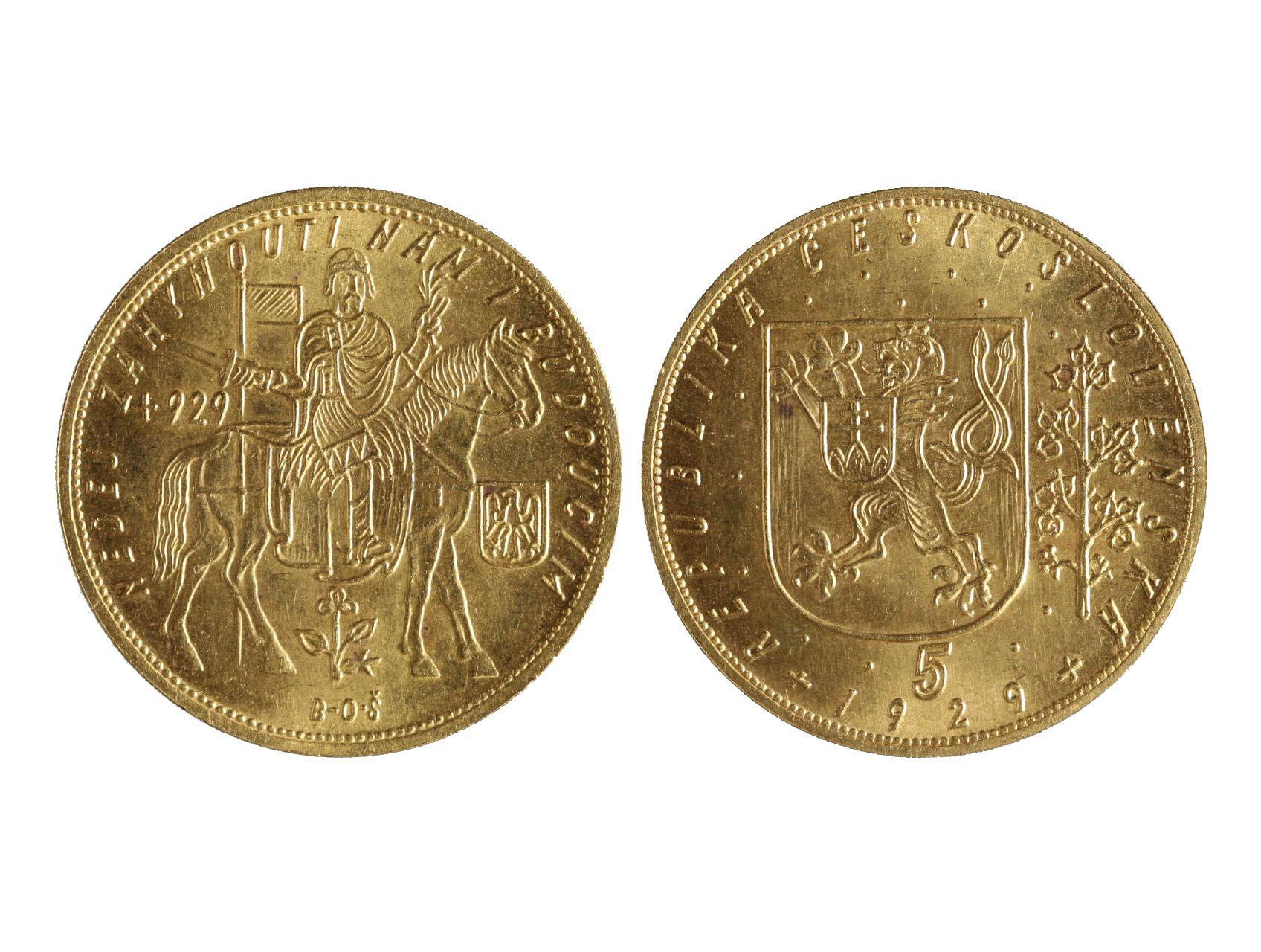 Československo 1918-1939 - 5 Dukát 1929, 17.455 g, 986/1000, raženo 1827 ks, N18