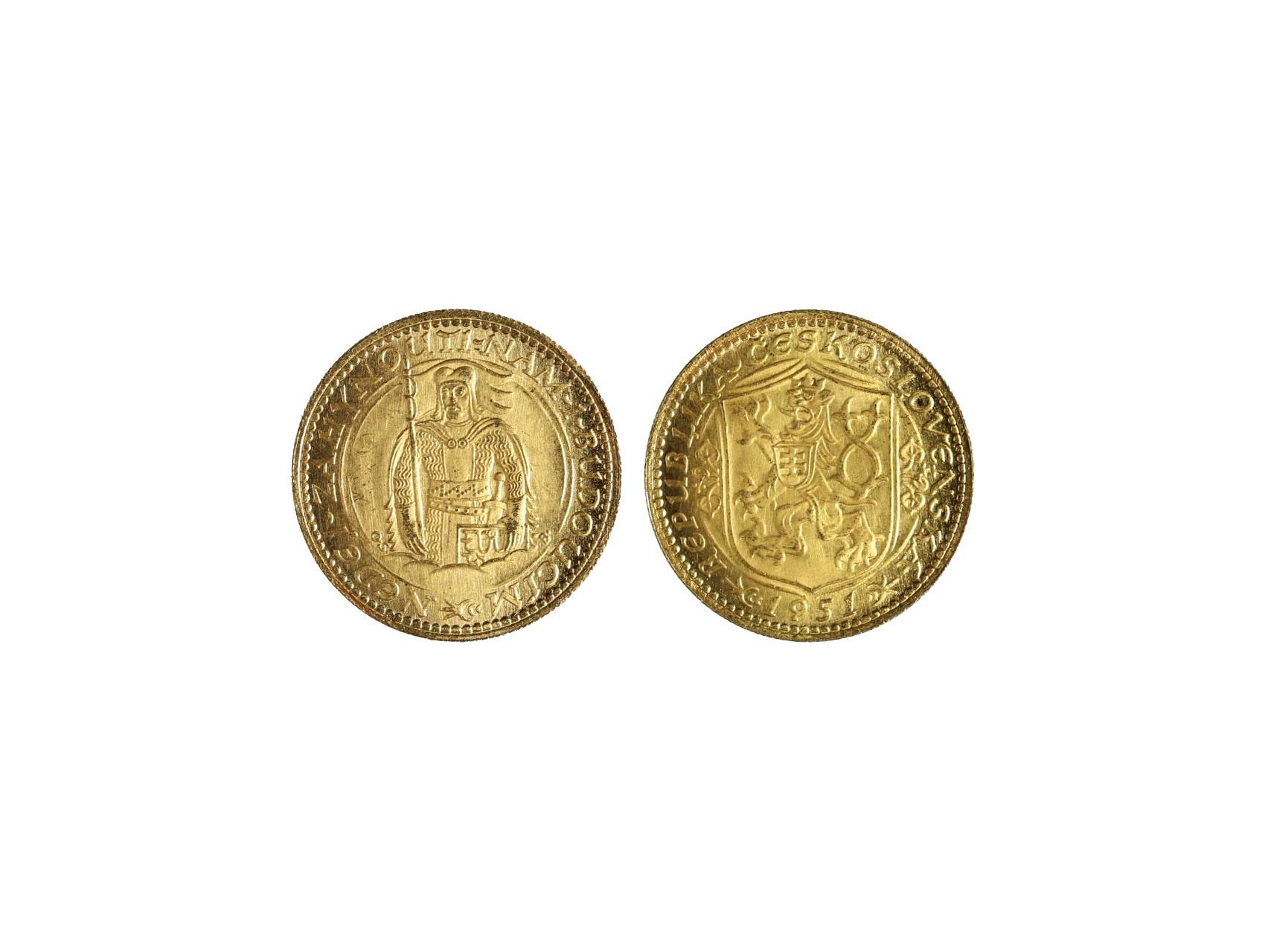 Československo 1945-1992 - Dukát 1951, 3.491 g, 986/1000, raženo 500 ks, N51, vzácný, pravý, bezvadná kvalita