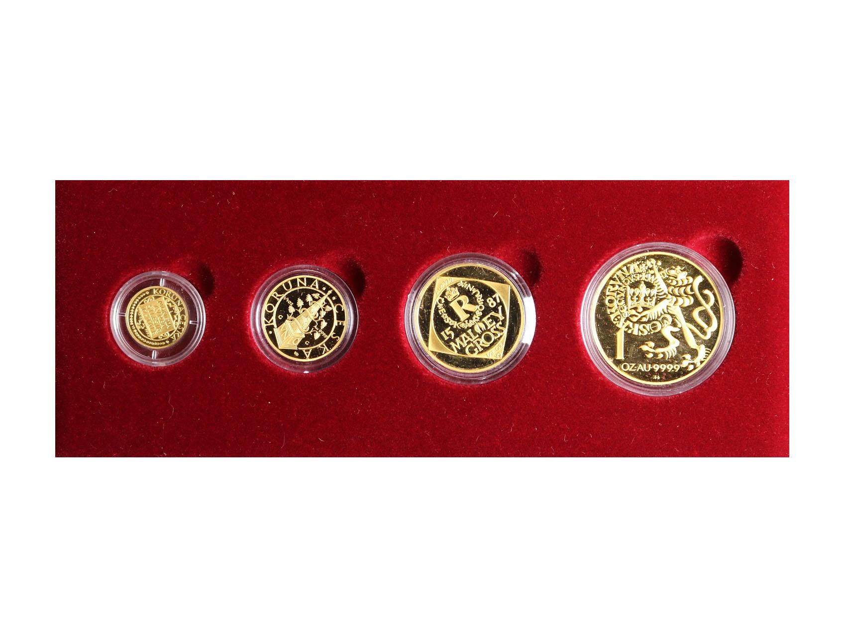 Česká Republika 1993 - sada zlatých mincí Koruna česká, 1000 , 2500 , 5000 , 10000 Kč 1997, kvalita proof, společná etue, chybí certifikáty, N1-4