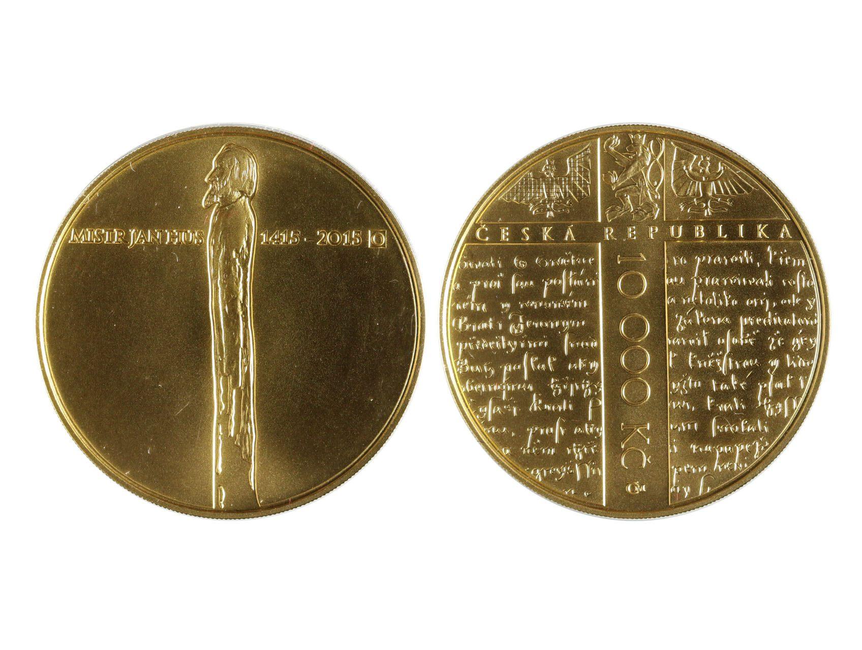 Česká Republika 1993 - 10.000 Kč 2015 Jan Hus, 31,107g, etue, certifikát, bezvadný stav, kvalita b.k., N42