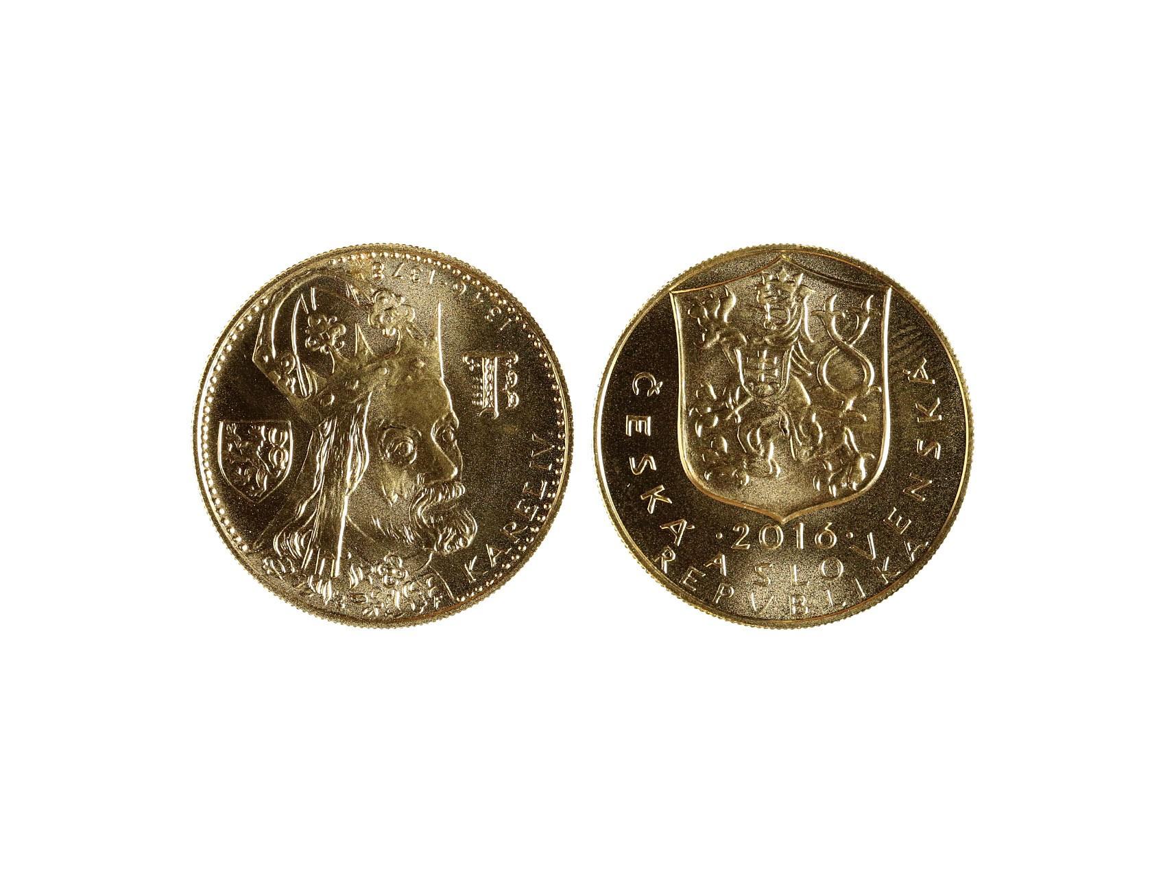 Česká Republika 1993 - 2 dukát k výročí 700.let od narození Karla IV. 1316 - 2016,  Au 0,986, náklad 100ks, číslovaný certifikát č.83, ražba Mincovna kremnice, etue