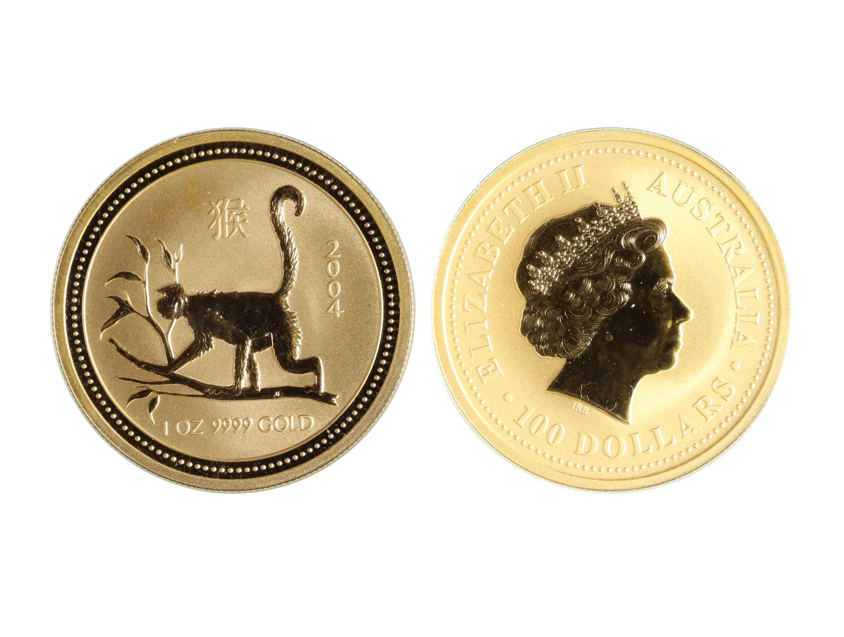 Austrálie - 100 Dollars 2004 Lunární kalendář rok opice, Au 0,999, 31,10g, KM.672