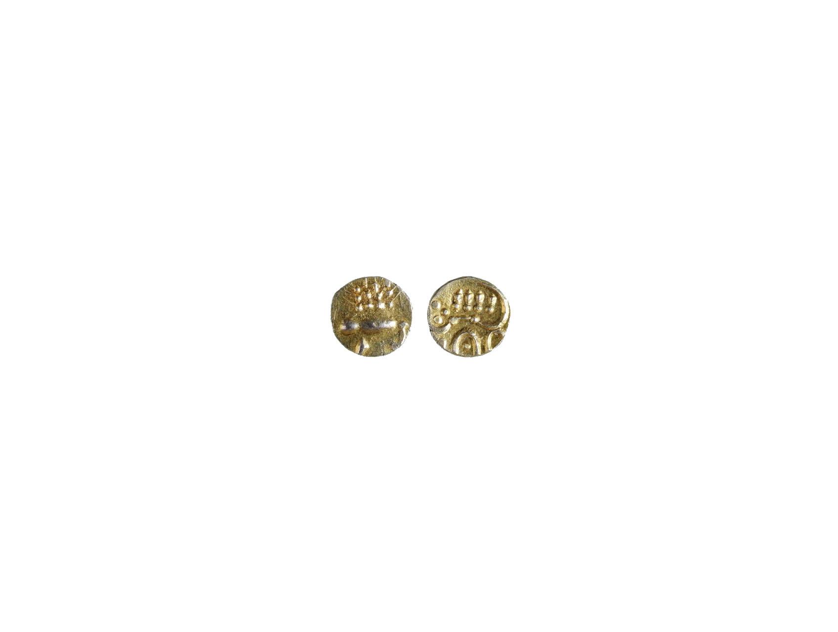 Indie - Britský protektorát, 1 Fanam z let 1795 - 1850, váha 0,35g, zlato o vysoké ryzosti, průměr 7 mm, nejmenší zlaté mince na světě