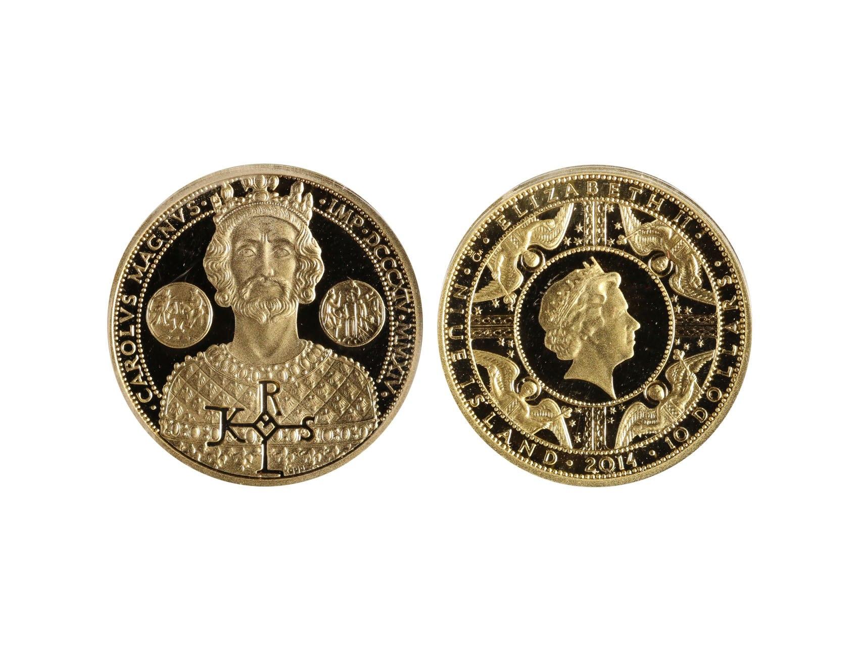Niue Island, 10 Dollars 2014 - Karel Veliký, Au 999,9, 15,56g, , 500ks, Česká mincovna a.s., certifikát, etue