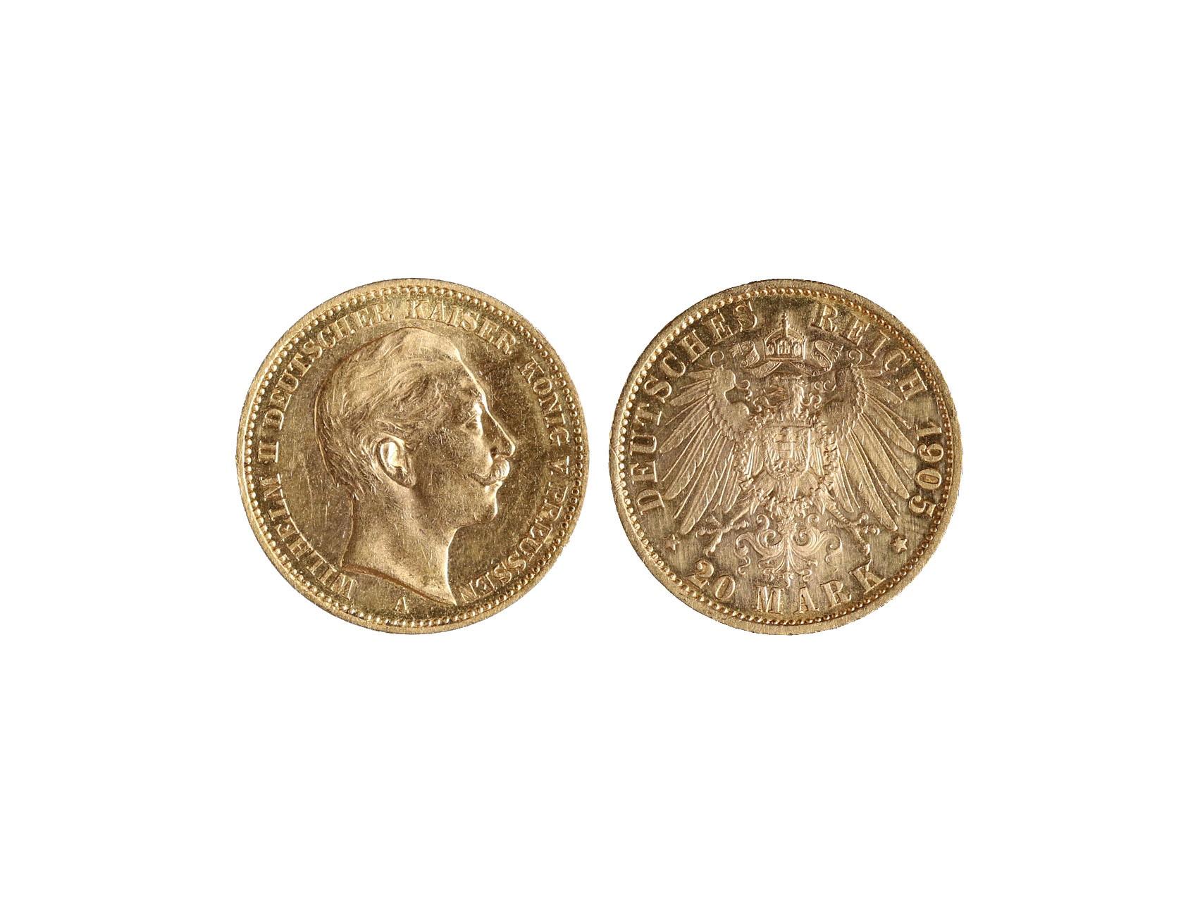 Německo-Prusko, Wilhelm II. 1888-1918 - 20 Marka 1905 A, KM.537