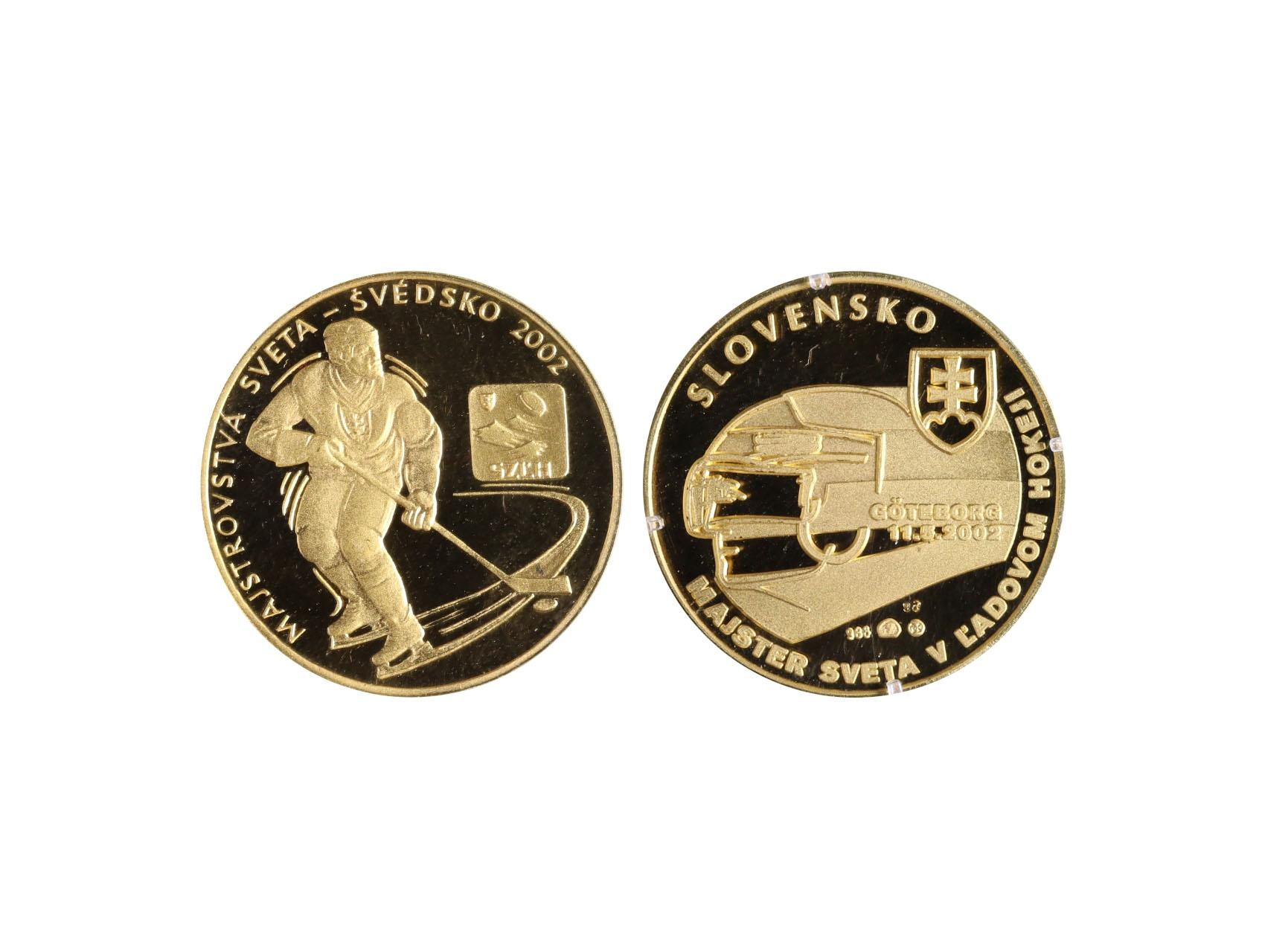 2002, Mincovňa Kremnica, pamětní medaile k Mistrovství světa v ledním hokeji,  Au 0,986, náklad 200ks, číslovaná medaile i certifikát č. 98, etue