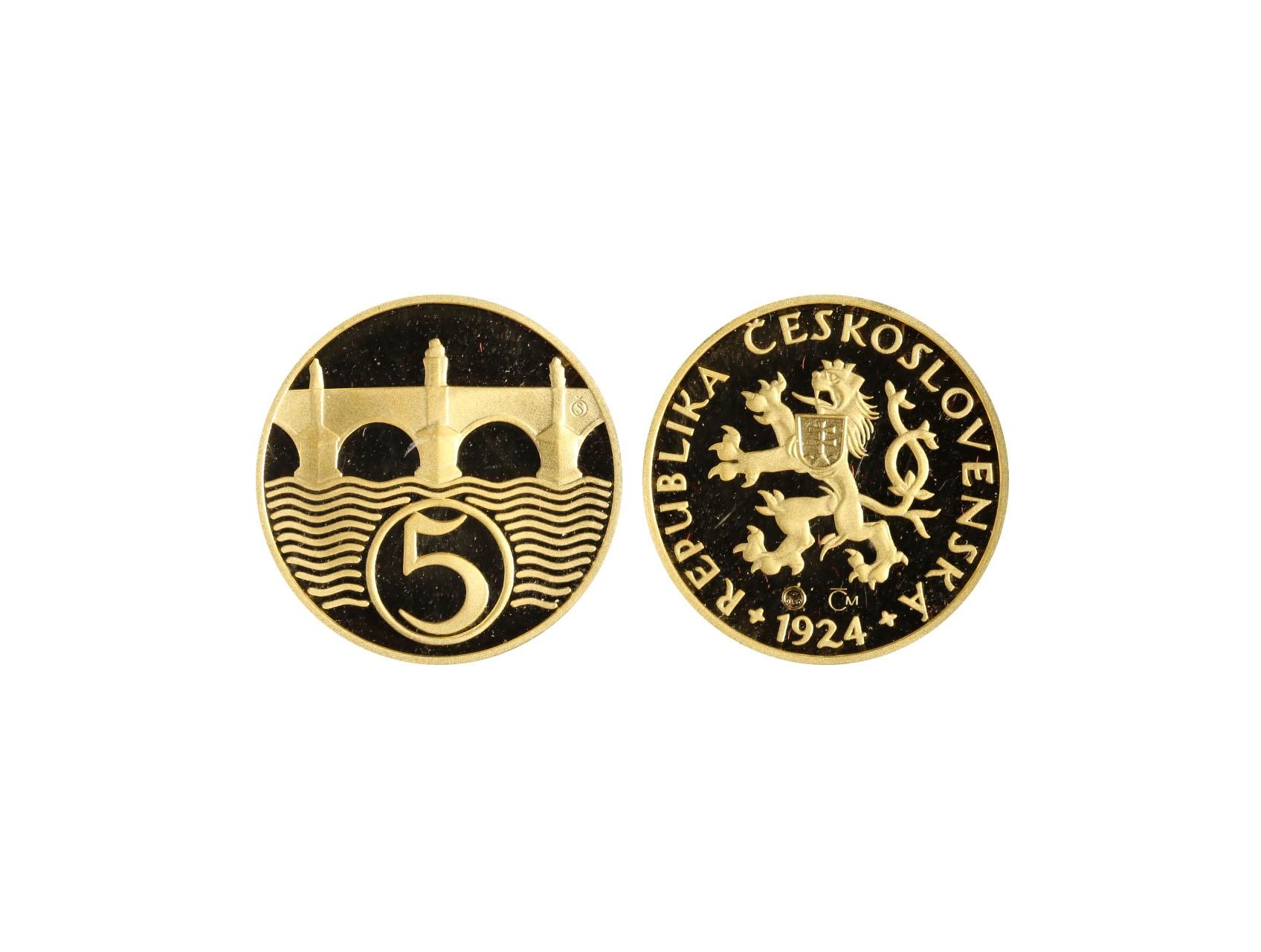 2007, Česká mincovna, zlatá medaile Replika 5 haléře z r. 1924, Au 0,999, 7,78g (1/4 UNZ), průměr 22mm, náklad 300 ks, etue