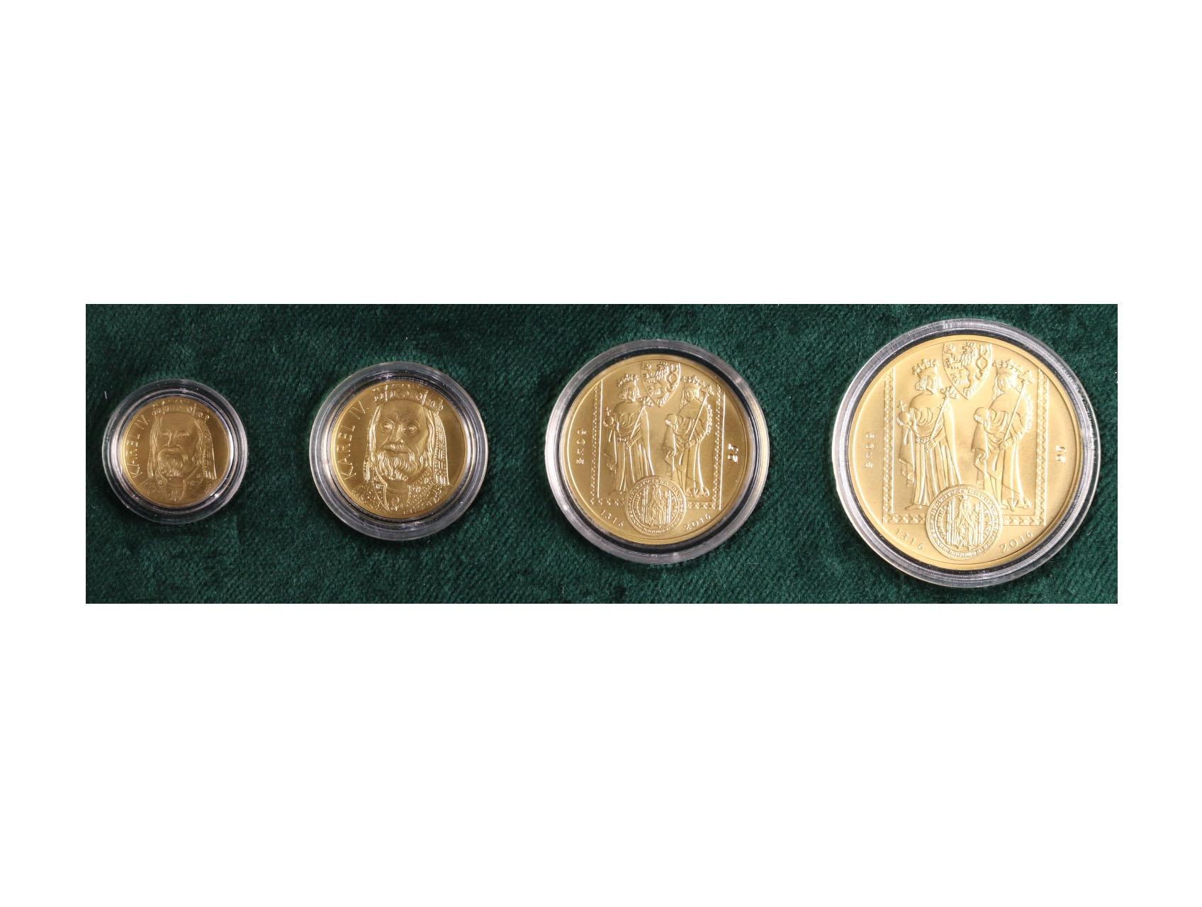 2016, Česká mincovna, zlaté medaile Karel IV. Dukátová řada 1 + 2 + 5 + 10 dukát, Au 0,986, 62,82g, náklad 40 ks, číslované č. 25, společná luxusní etue, certifikát podepsaný autory Fojtů a Němečková, 2x průvodní dokumentační kniha