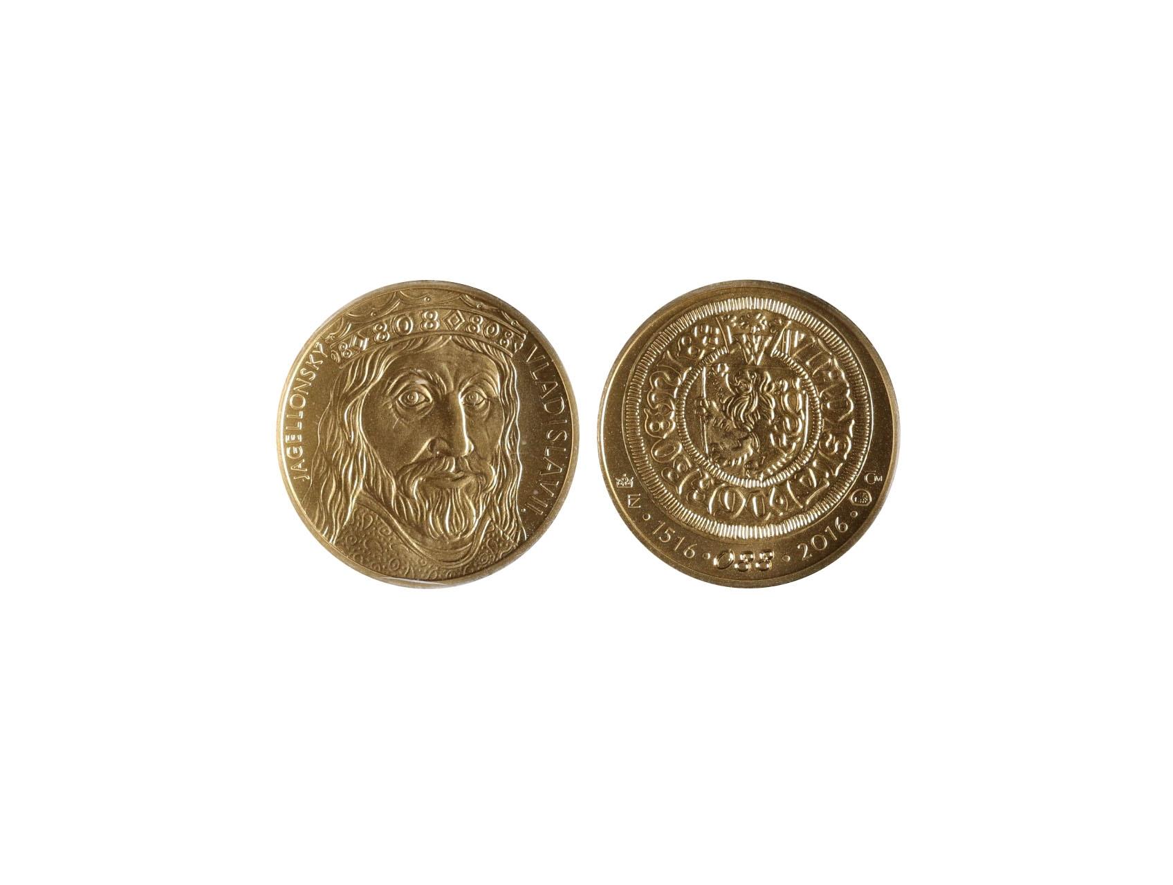 2016, Česká mincovna, zlatá medaile Vladislav II. 1 Dukát, Au 0,986, 3,49g, náklad 250 ks, číslovaný č. 88, luxusní etue, certifikát podepsaný autory Fojtů a Němečková
