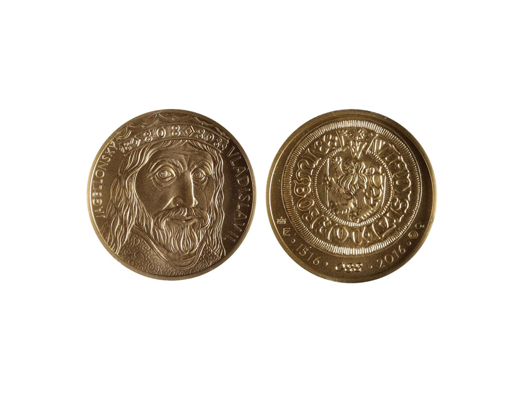 2016, Česká mincovna, zlatá medaile Vladislav II. 2 Dukát, Au 0,986, 6,98g, náklad 150 ks, číslovaný č. 88, luxusní etue, certifikát podepsaný autory Fojtů a Němečková