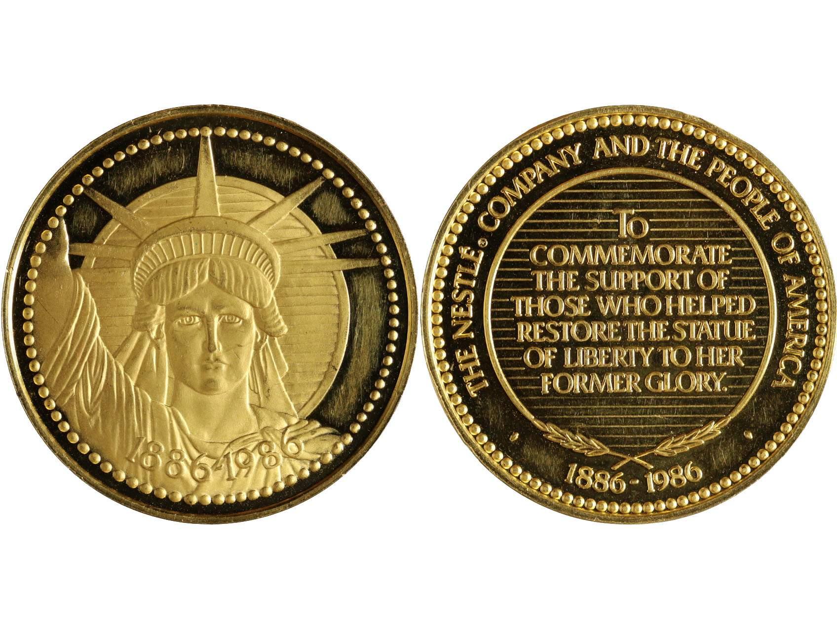 USA, medaile na obnovu sochy svobody 1886 - 1986 the Nestlé, Au 31,72g