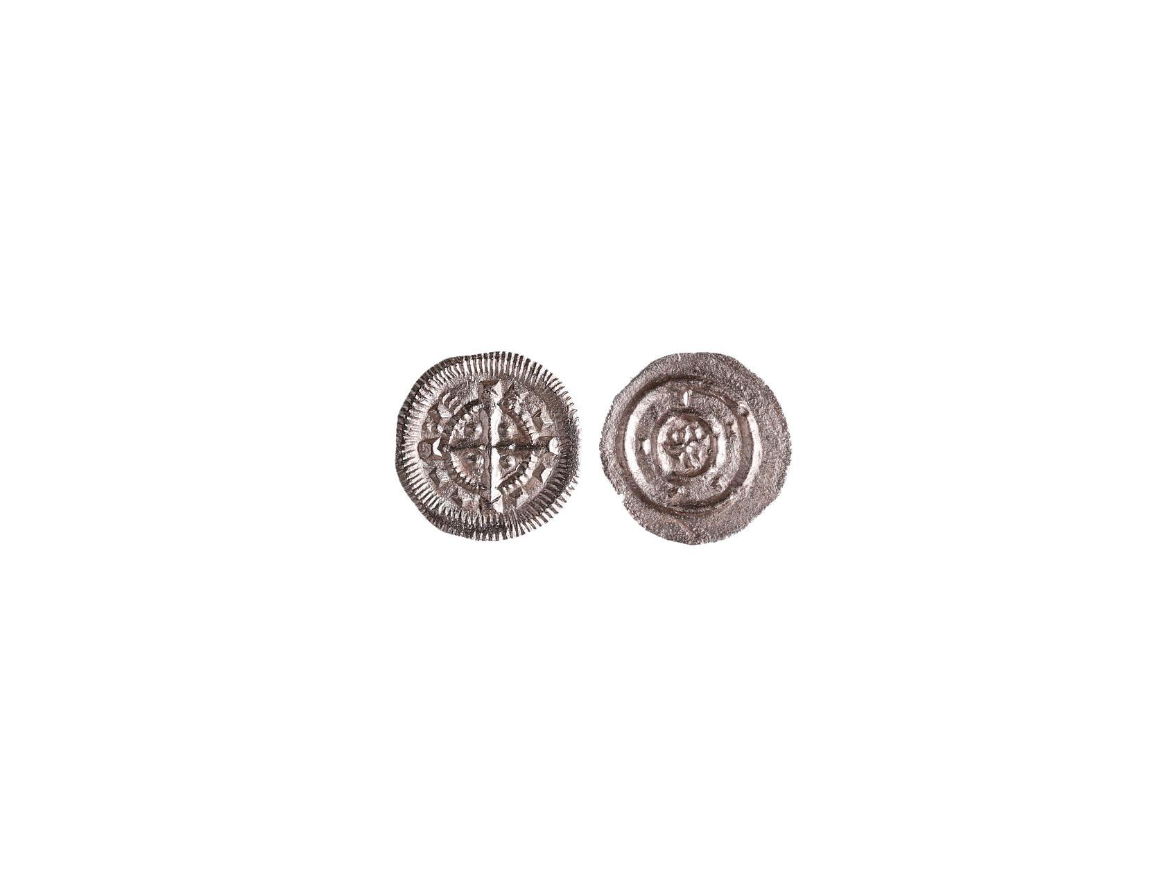 Uhry, 12.století, období bez panovníka, Denár, var. dvě tečky před  E, Husz 103