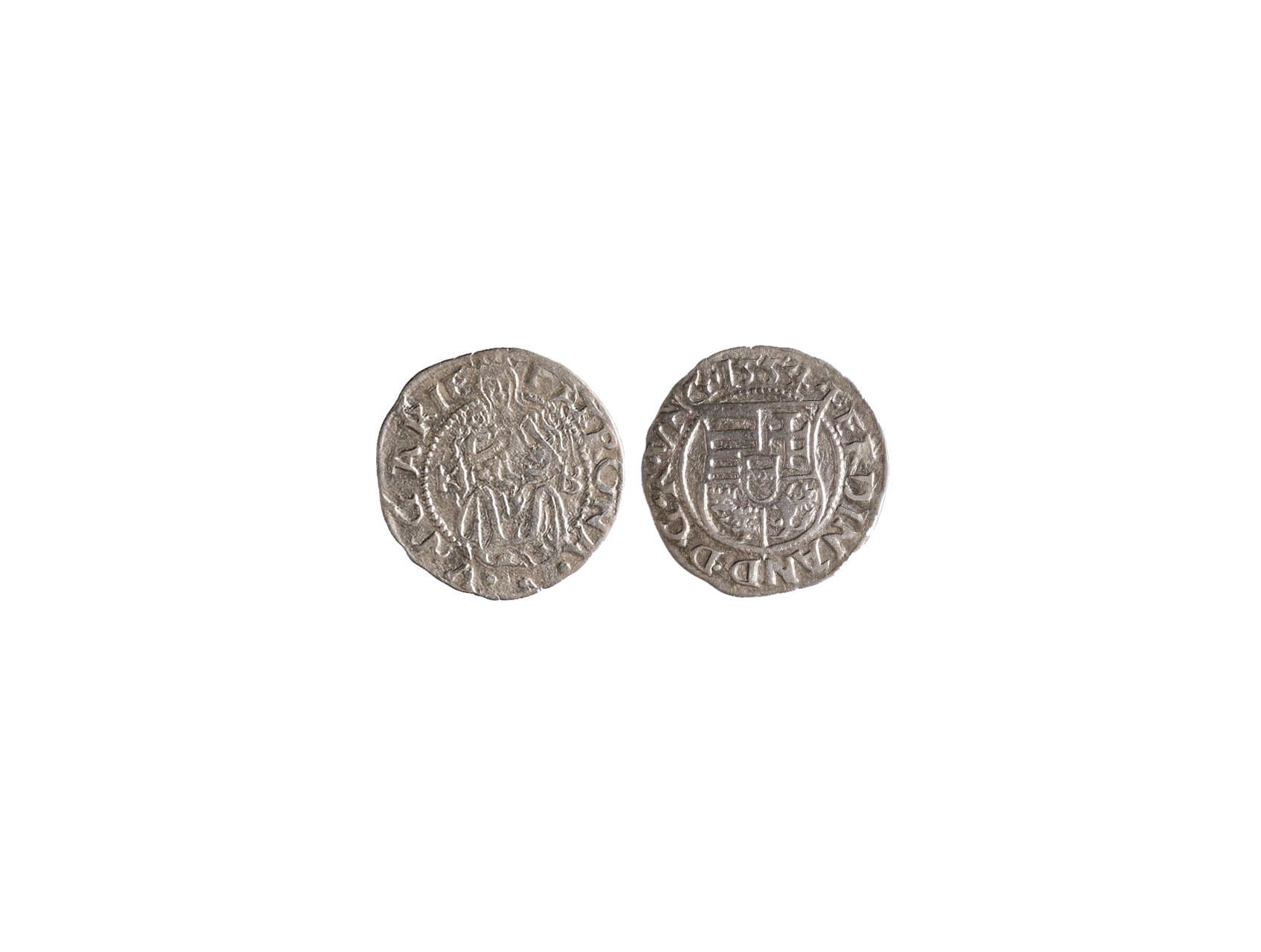 Ferdinand I. 1526-1564 - Denár 1554 KB, Huszár 935