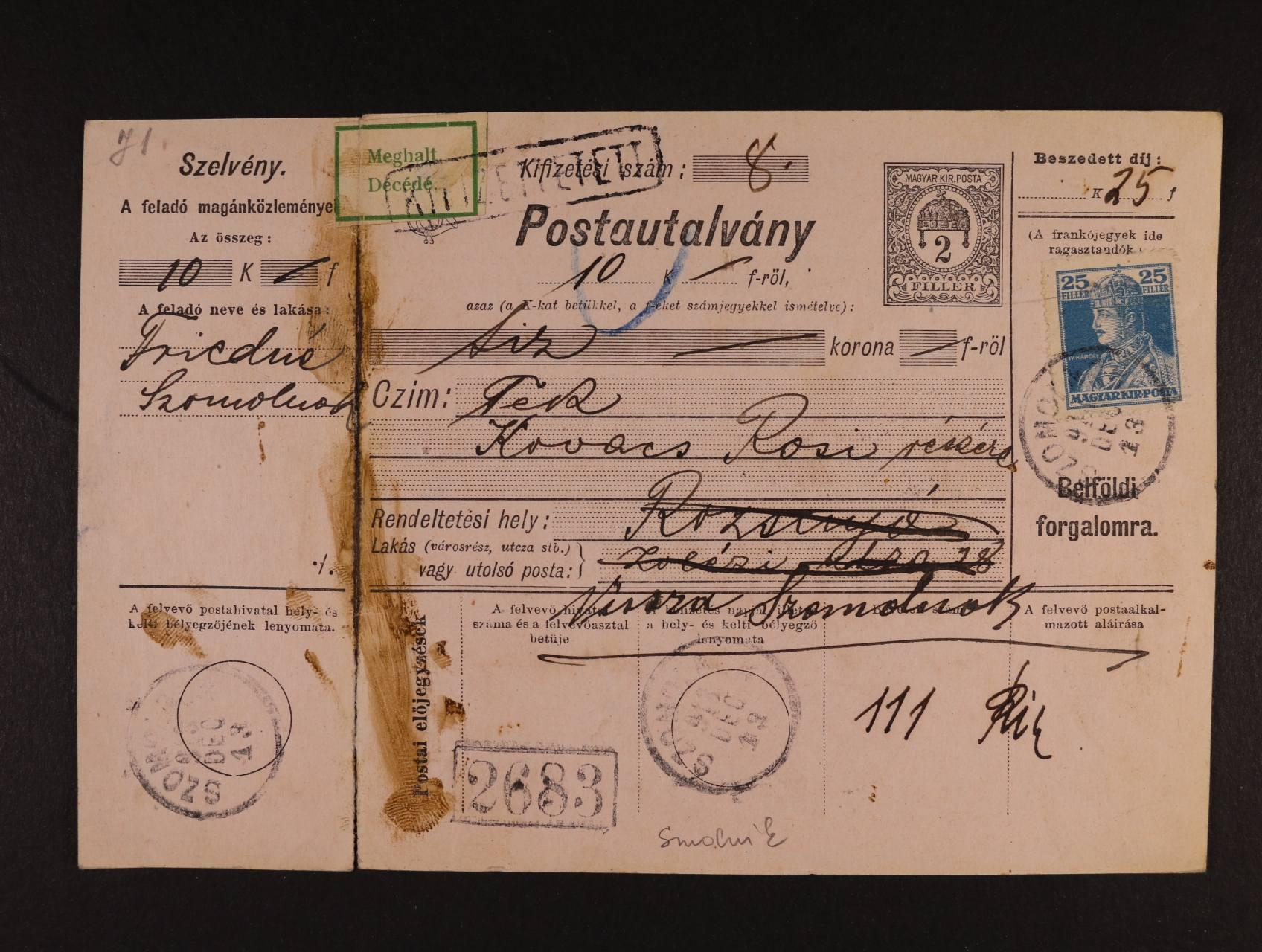 kompl. uherská průvodka frank. maď. zn. Mi. č. 216 s pod. raz. SZOMOLNYO (Smolník) 13.DEC.1918, zajímavé