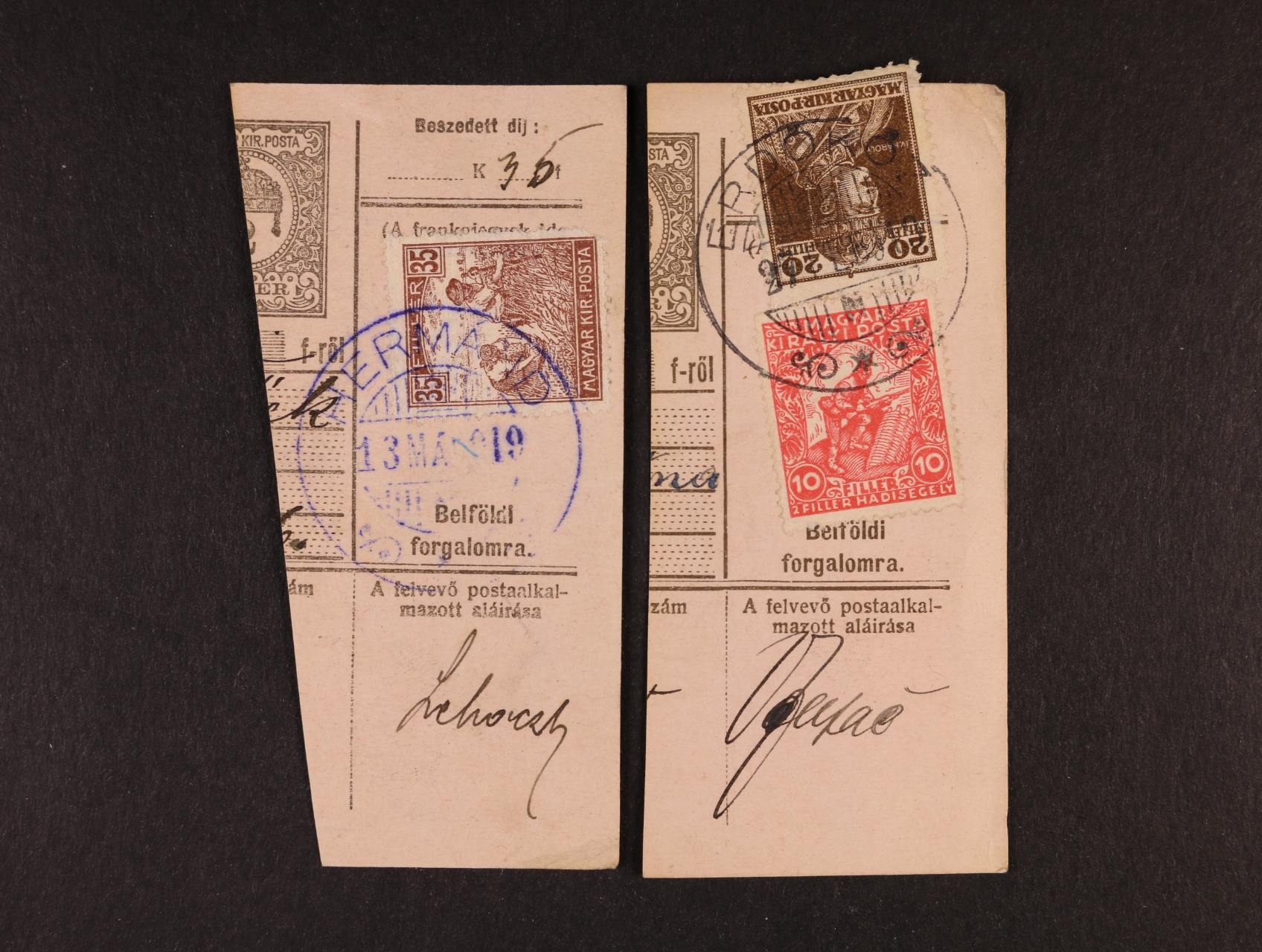 ústřižek uherské pošt. průvodky frank. maďarskou zn. Mi. č. 183 + 215 s raz. ERDÓKÖZ (Podhoranská Polhora) 27.2.19 + dtto frank. maď. zn. Mi. č. 198 s modrým kulatým raz. HERMÁND (Hermánec) 13.3.19