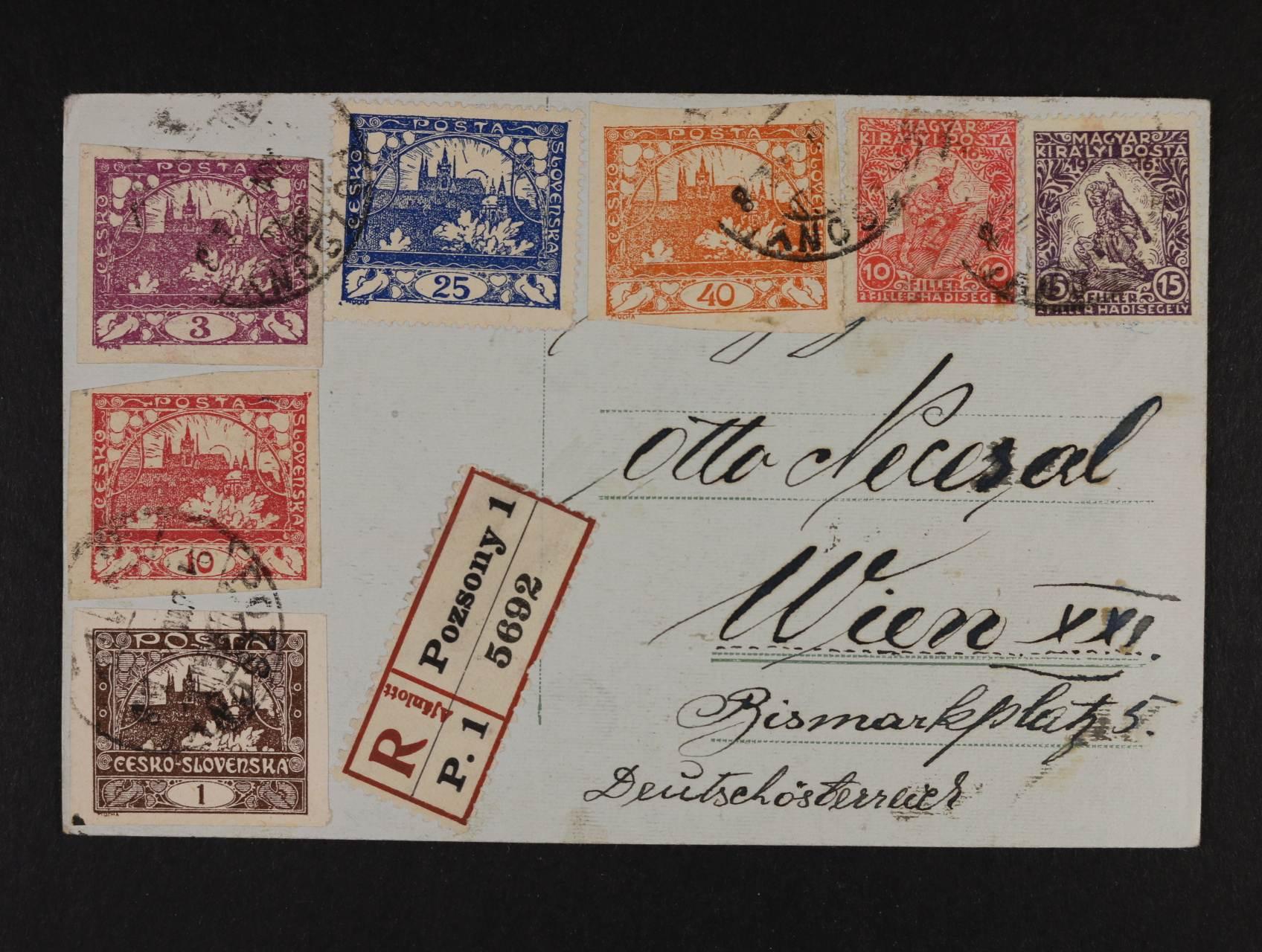 R-celistvost do Vídně frank. pestrou frankaturou Hradčan + maď. zn. Mi. č. 183, 184, pod. raz. BRATISLAVA 26.6.19 (potvrzeno v textu) velmi zajímavé