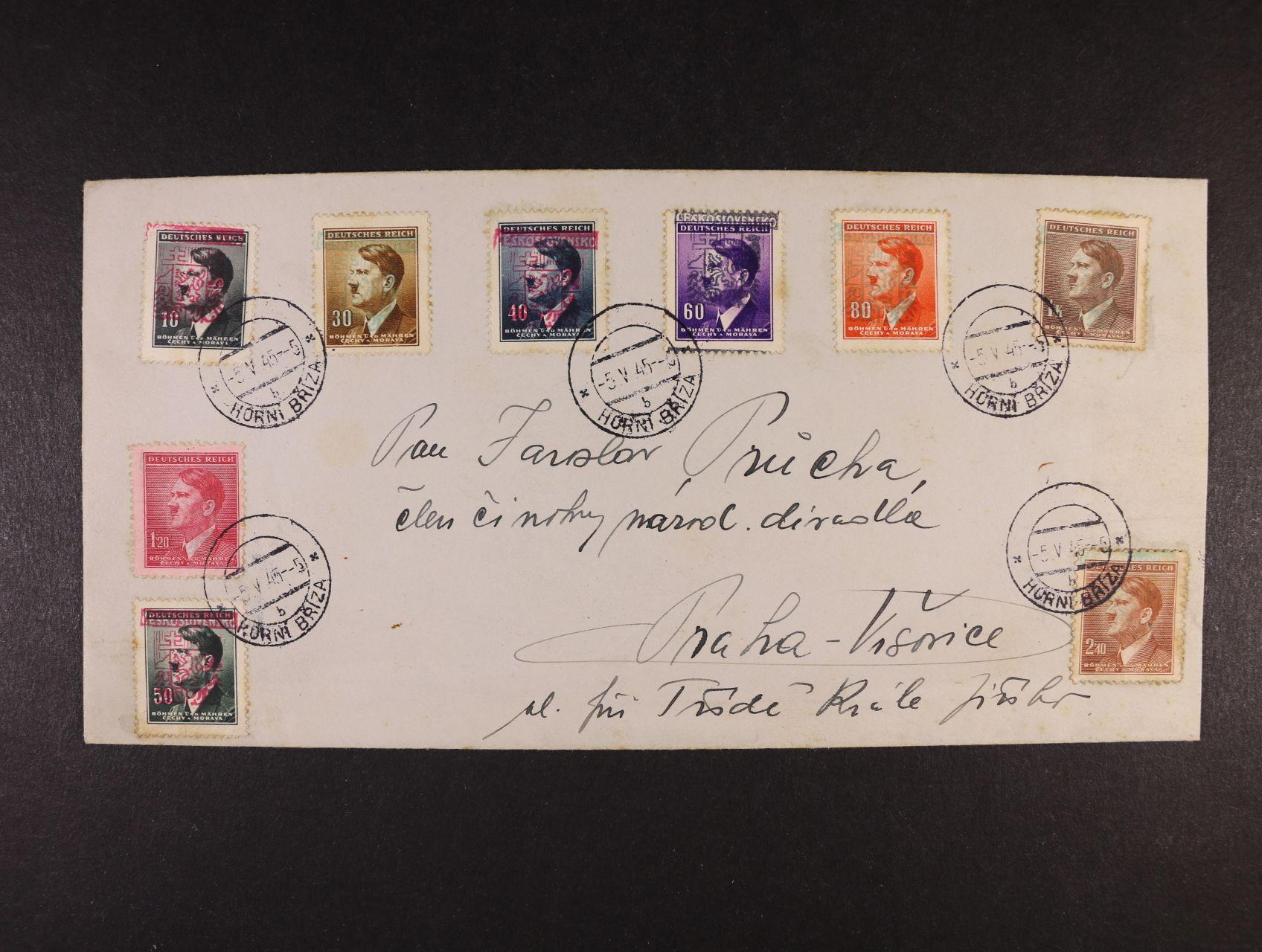 Horní Bříza - dopis frank. 9ti protektor. zn. s portrétem A.H. a přetiskem ČESKOSLOVENSKO se stát. znakem v barvě červené, zelené a černé, pod. raz. HORNÍ BŘÍZA 5.5.45