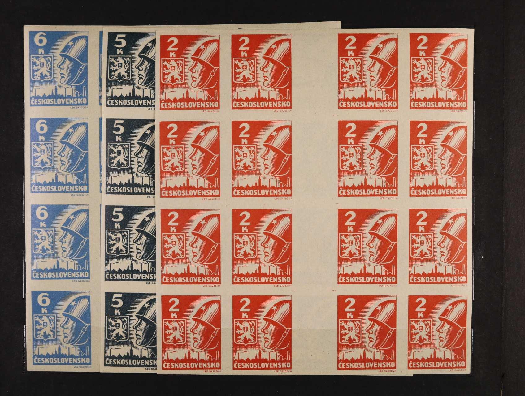 zn. č. 354 Mv, 355a Mv, 356b Mv - čtyřzn. meziarší vodorovná ve čtyřpáskách, velmi pěkné odstíny barev, zn. ve větších blocích vzácné, kat. cena 10600 Kč