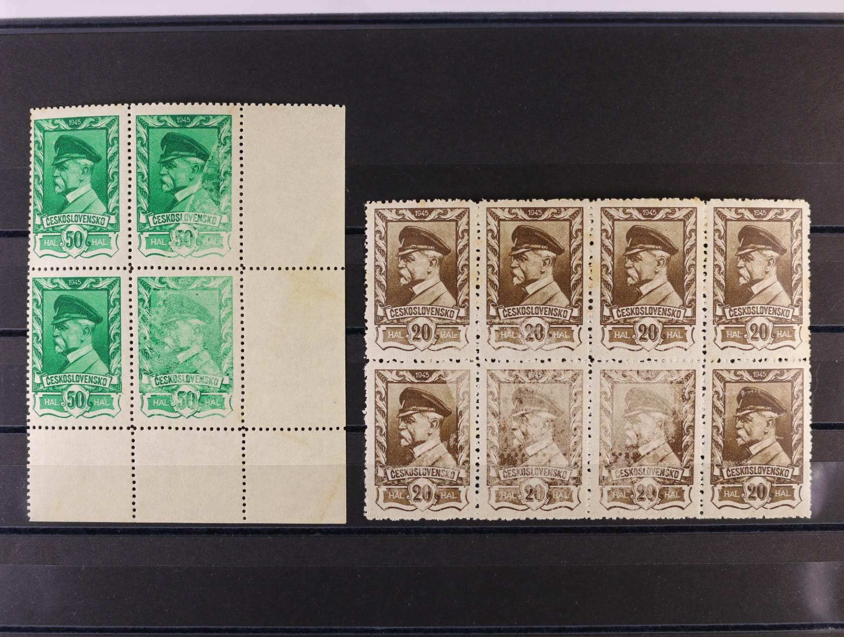 zn. č. 383 v 8mi-bloku s částečným nedotiskem barvy, zn. 384 - pravý spodní roh. čtyřblok se slabým tiskem na dvou zn., kvalita k prohlédnutí