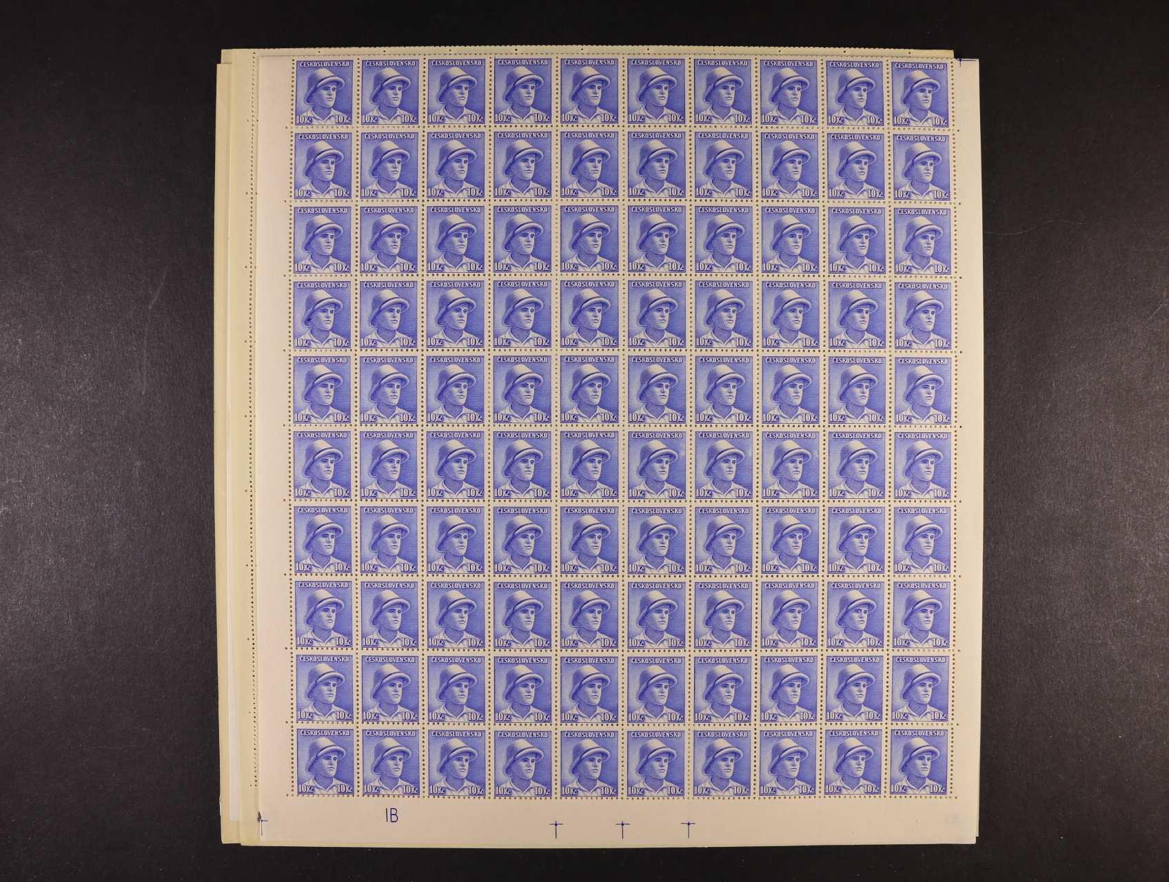 zn. č. 387 - 402 ve 200kusových arších s DZ 1 A, resp. 1 B, vč. DV, kat. cena min. 2400 Kč