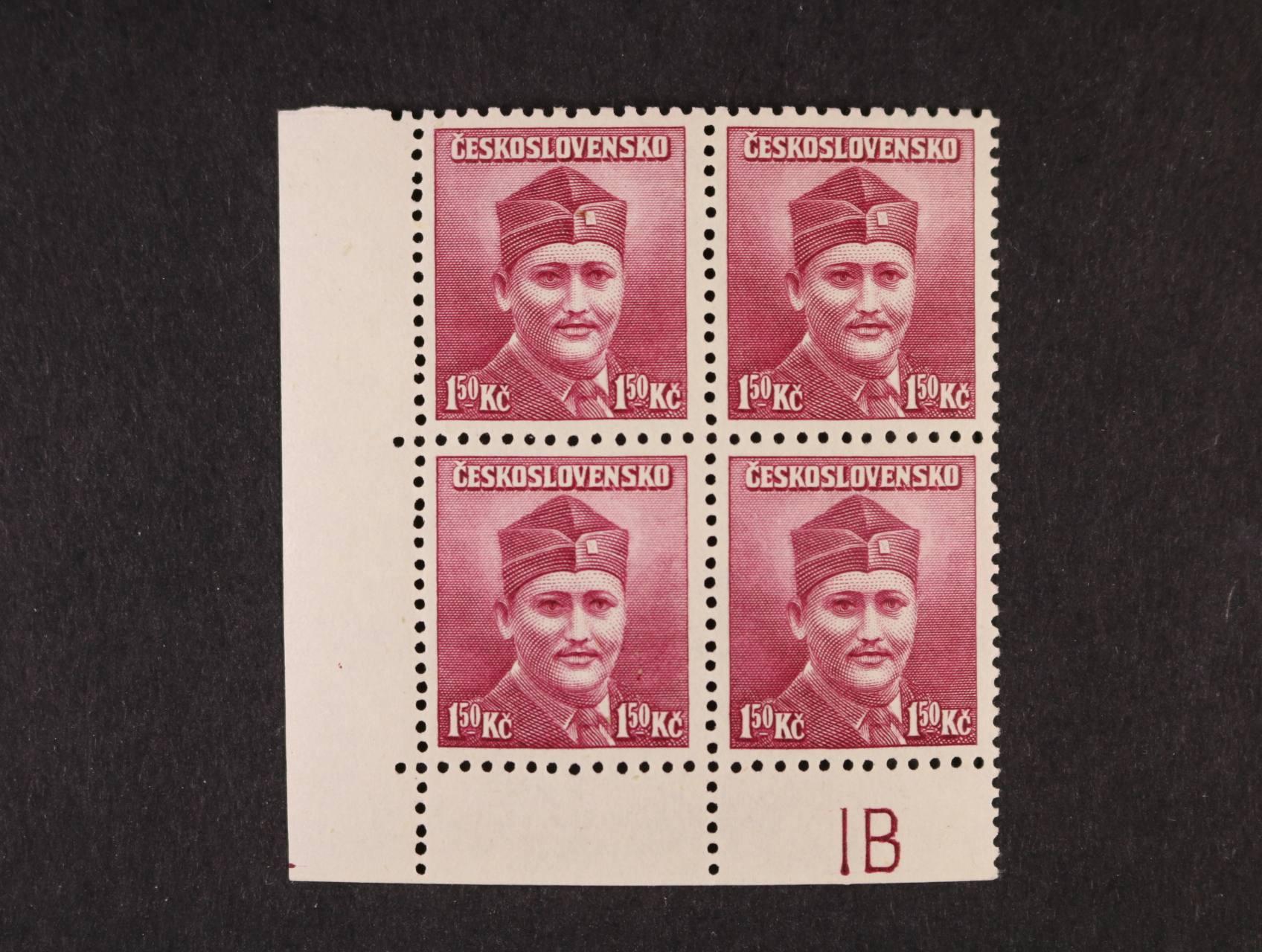 zn. č. 396 OHZ - levý spodní roh. čtyřblok s DZ 1 B a obráceným hřeben. zoubk., kat. cena 2000 Kč