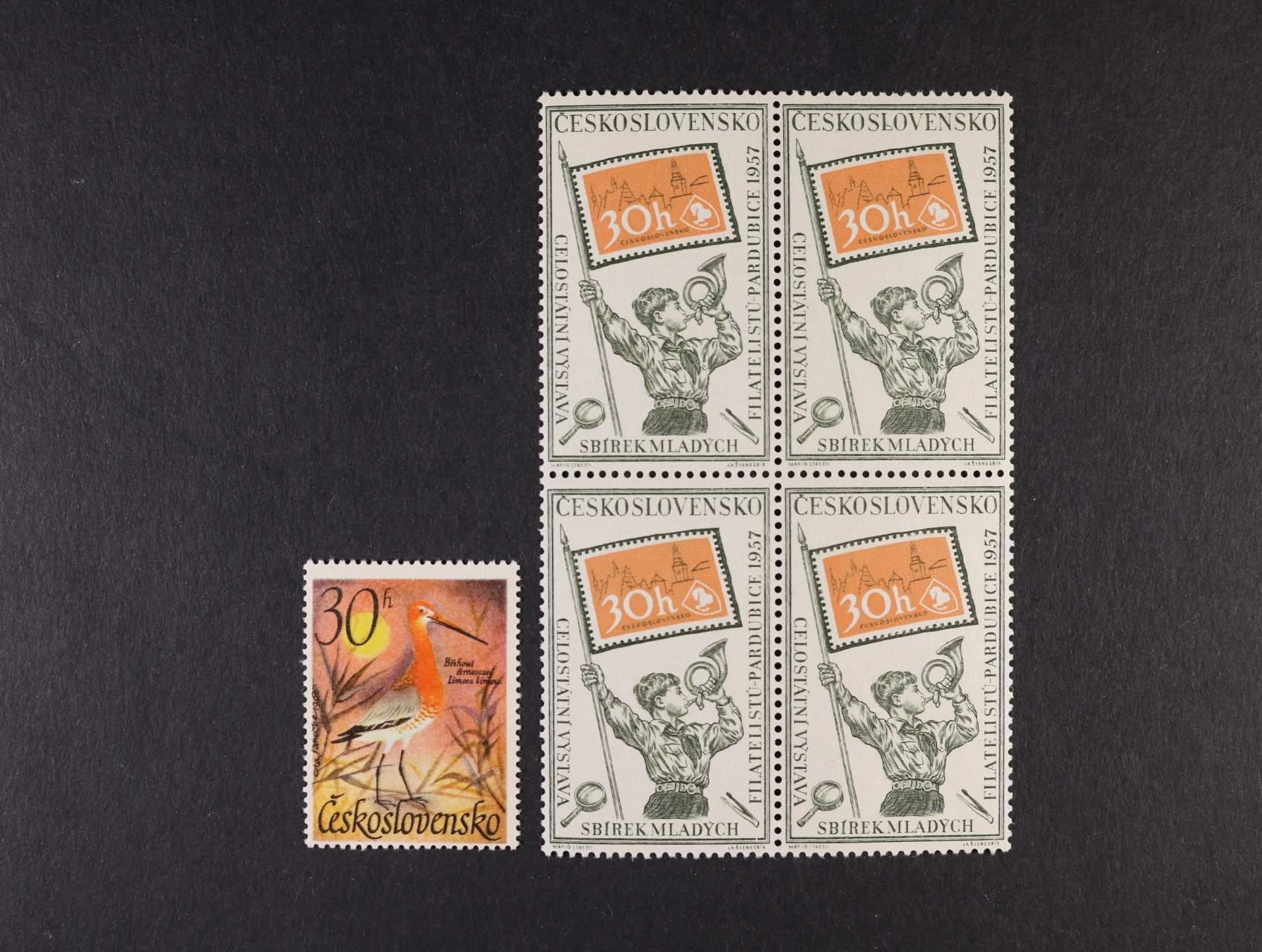 zn. č. 948 ve čtyřbloku s DV 17/1 - čárka v L a zn. č. 1587, typ II