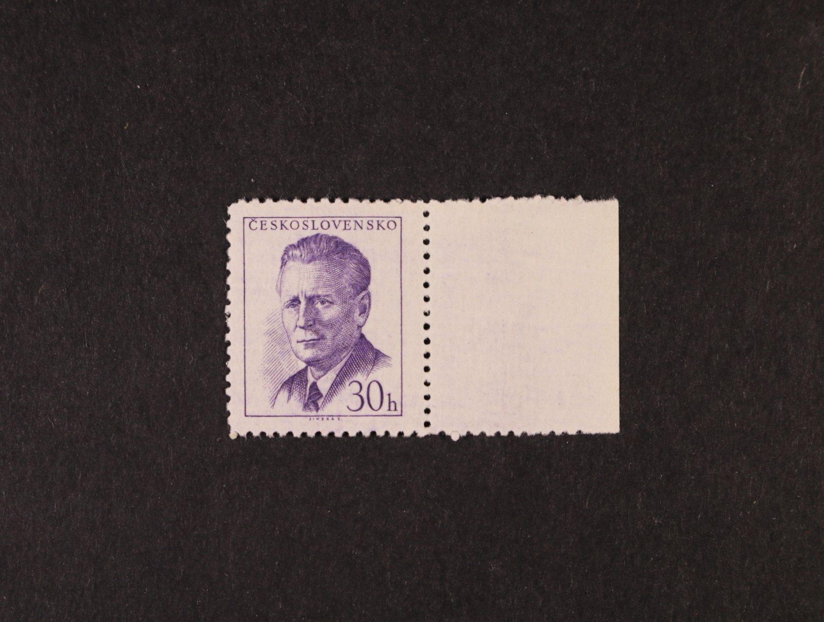 zn. č. 1091x s pravým okrajem, fialový chybotisk , zk. Karásek, kat. cena 2800 Kč
