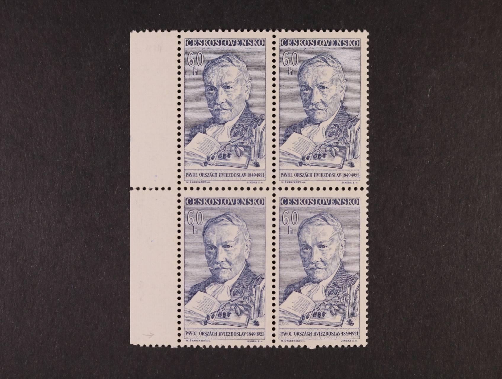 zn. č. 1174 ST ve čtyřbloku s levým okrajem, kat. cena 4000 Kč