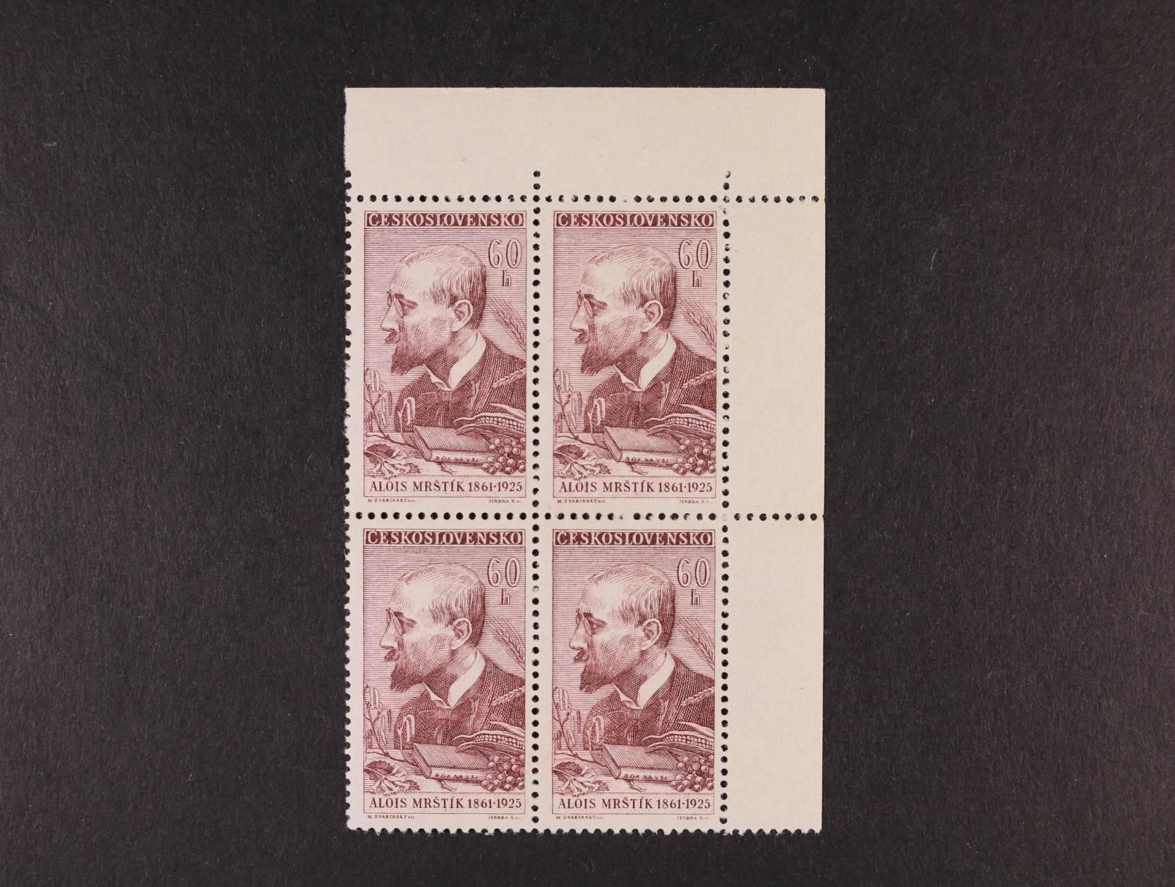 zn. č. 1175 ST - levý horní roh. čtyřblok se dvěma ST, kat. cena 10000 Kč