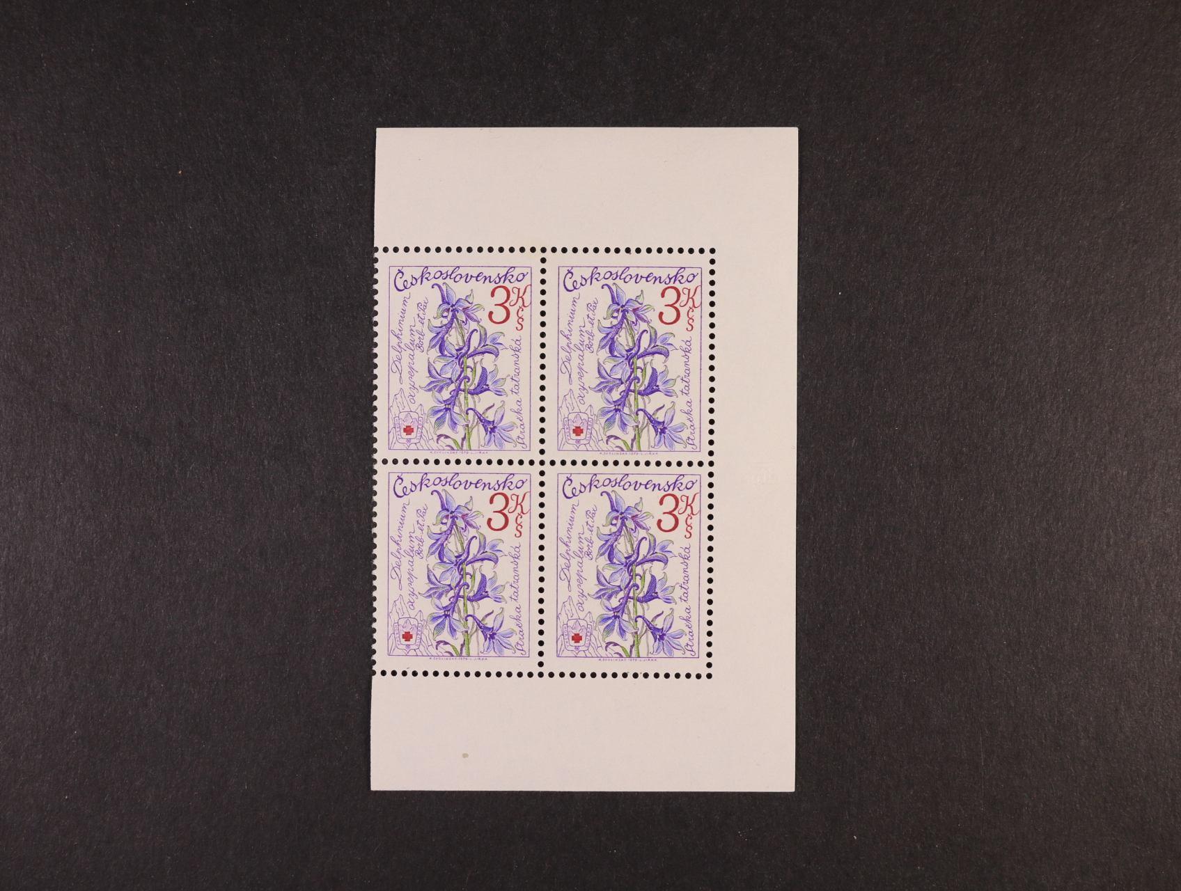zn. č. 2369 A Rz 11 3/4 ve čtyřbloku s okraji, kat. cena 1800 Kč