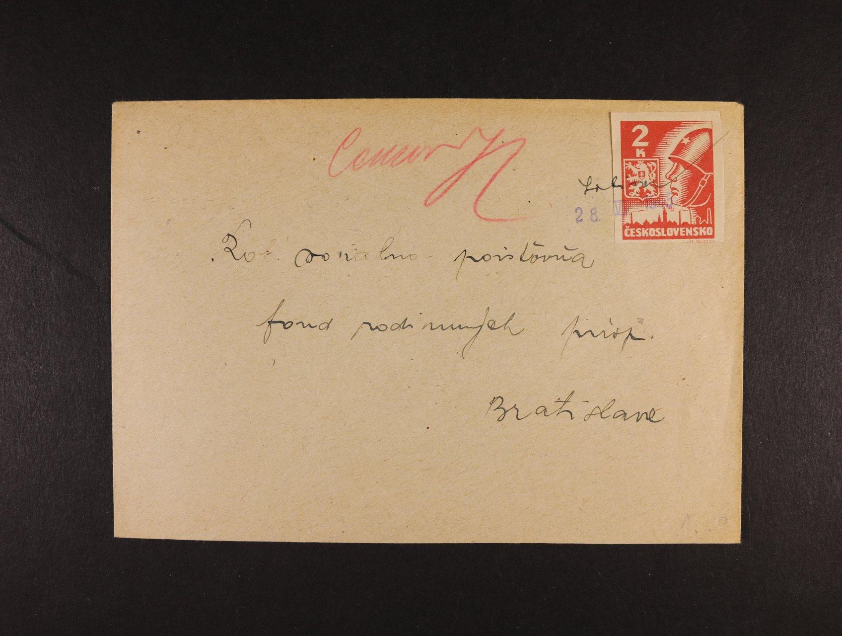 dopis do Bratislavy frank zn. č. 354 s ručním přepisem a datací 28.6.45